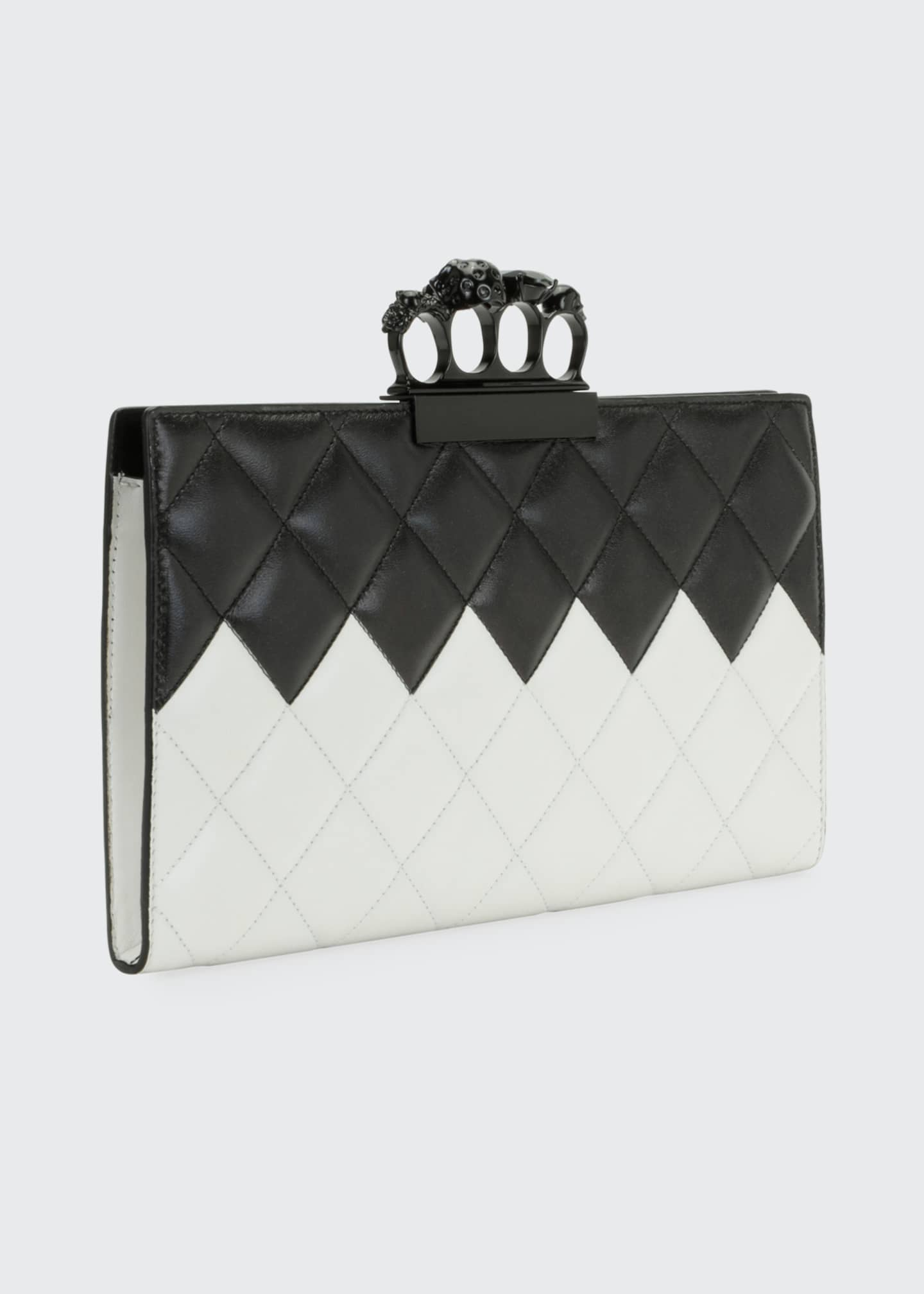 Image 2 of 3: Two-Tone Four-Ring Quilted Clutch Bag
