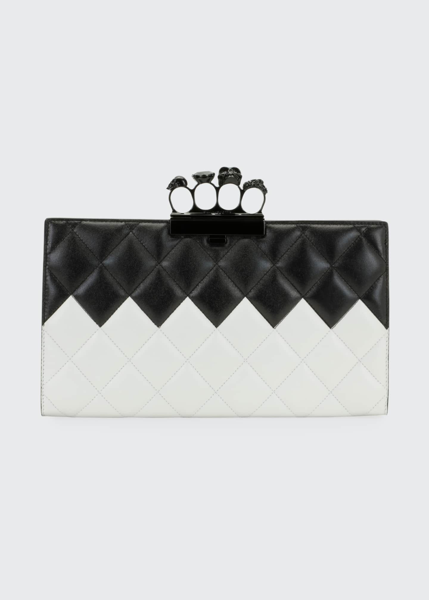 Image 1 of 3: Two-Tone Four-Ring Quilted Clutch Bag