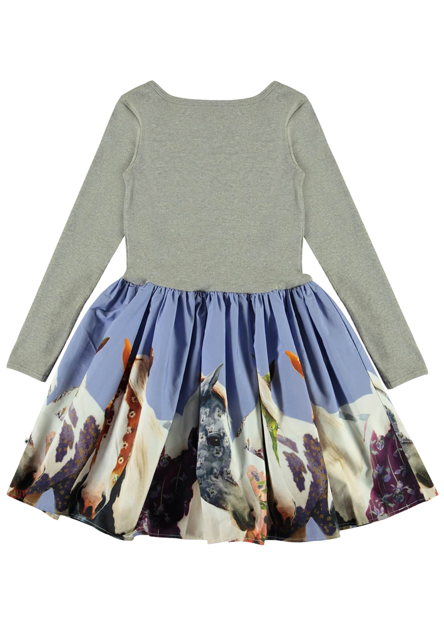 Image 3 of 3: Girl's Casie Ribbed Long-Sleeve Dress w/ Horse Print Skirt, Size 2T-12
