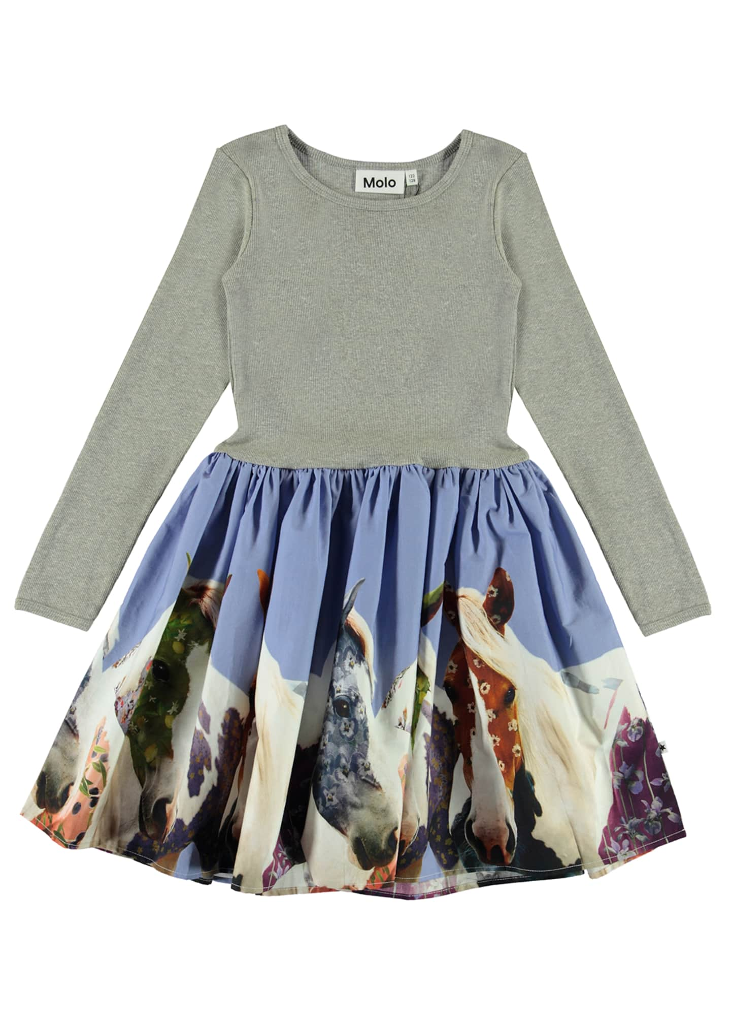 Image 1 of 3: Girl's Casie Ribbed Long-Sleeve Dress w/ Horse Print Skirt, Size 2T-12
