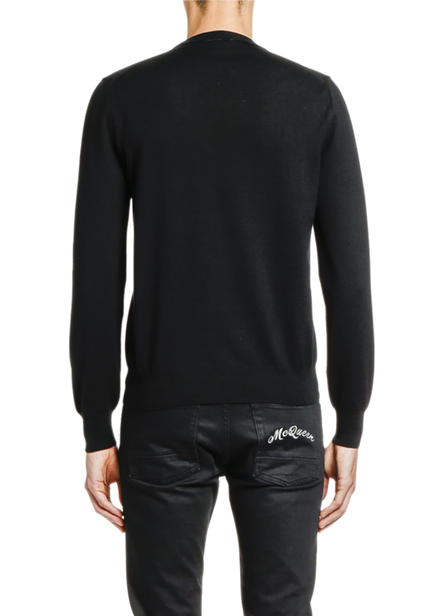 Image 2 of 2: Men's Solid Crewneck Sweater w/ Slashed Neck