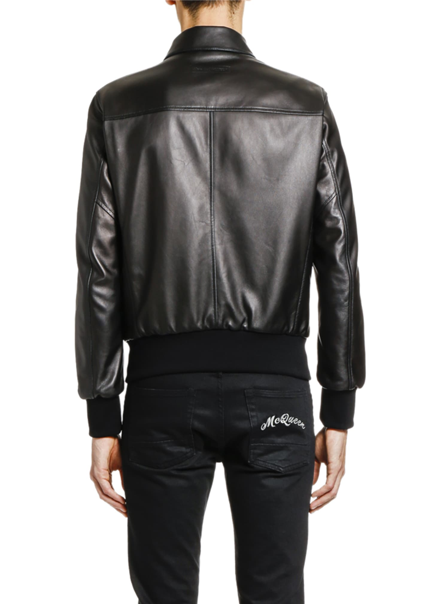 Image 2 of 3: Men's Lamb Leather Zip-Front Jacket