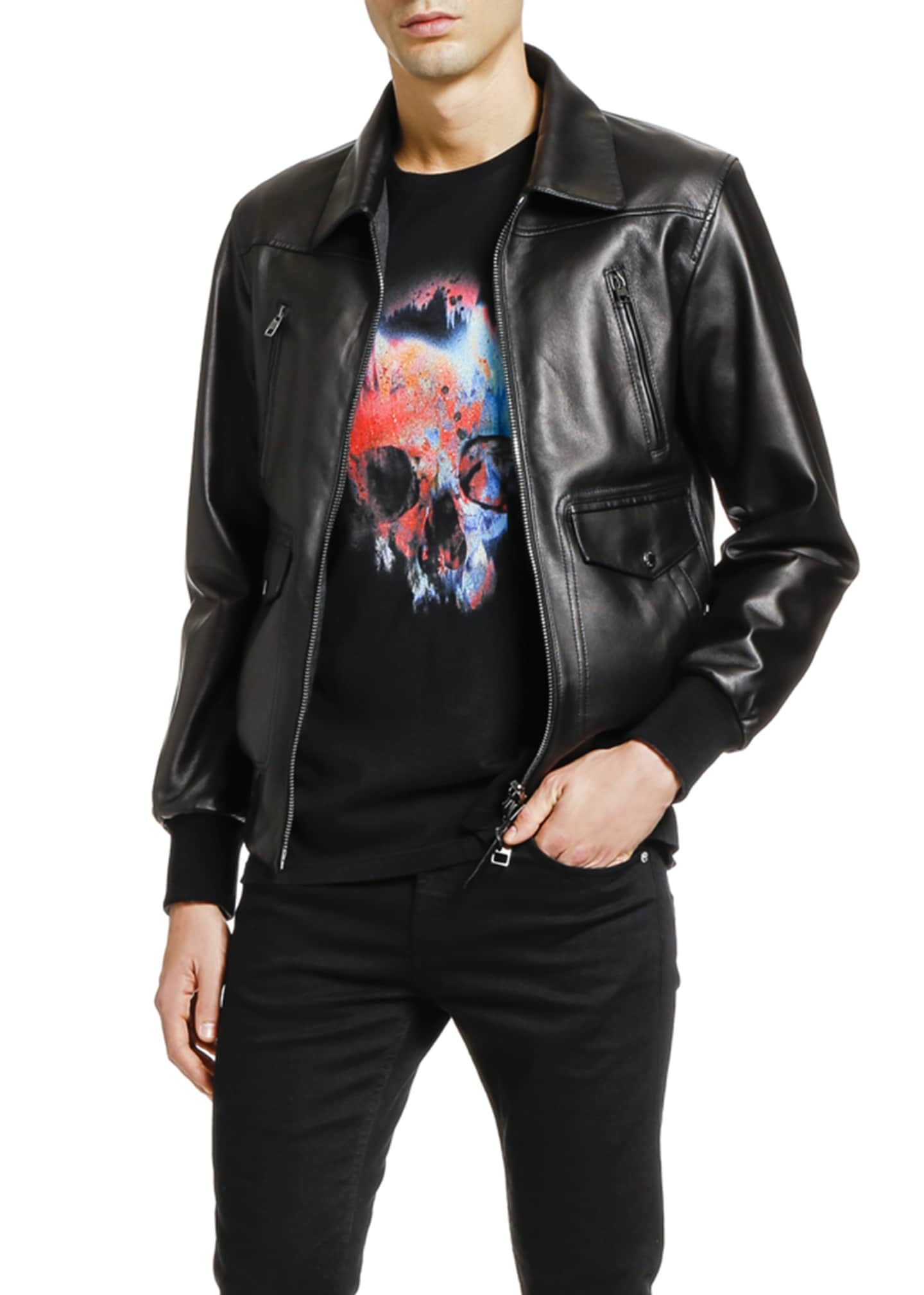 Image 3 of 3: Men's Lamb Leather Zip-Front Jacket