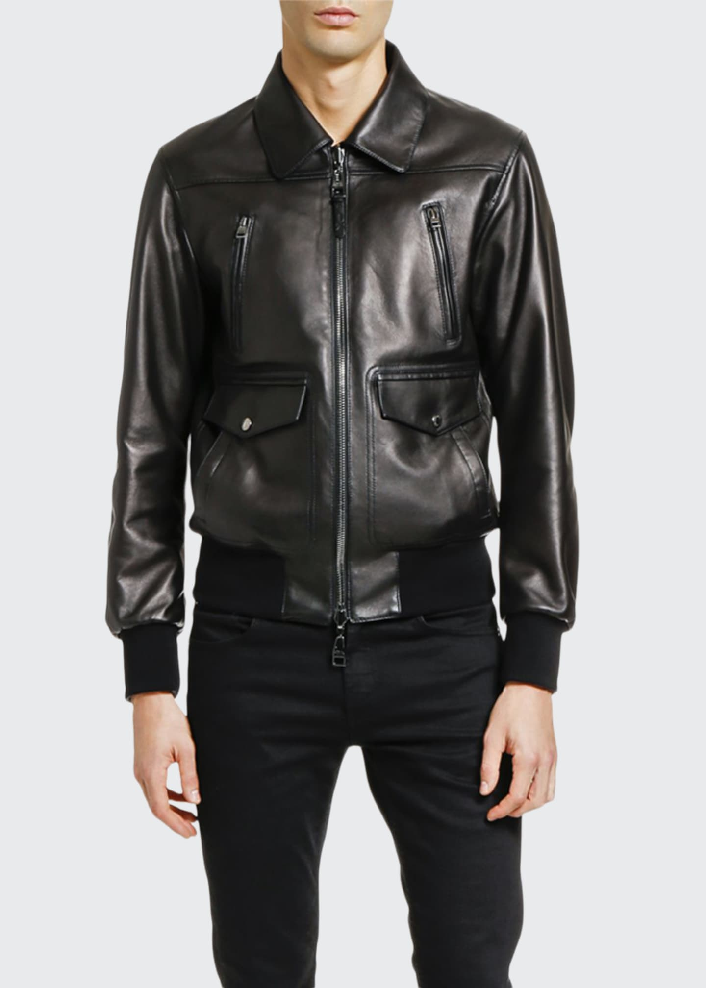 Image 1 of 3: Men's Lamb Leather Zip-Front Jacket