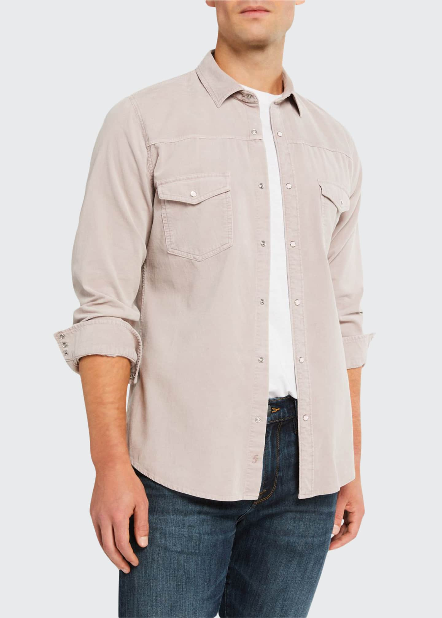 FRAME Men's Slim-Fit Corduroy Western Sport Shirt