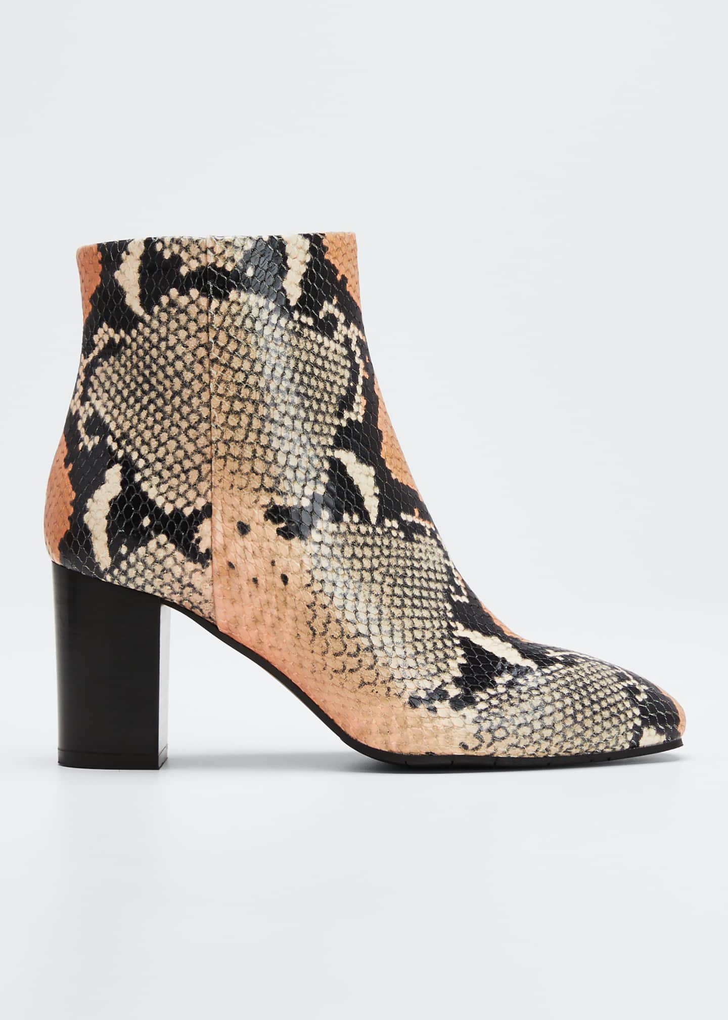 Aquatalia Florita Snake-Print Leather Zip Booties