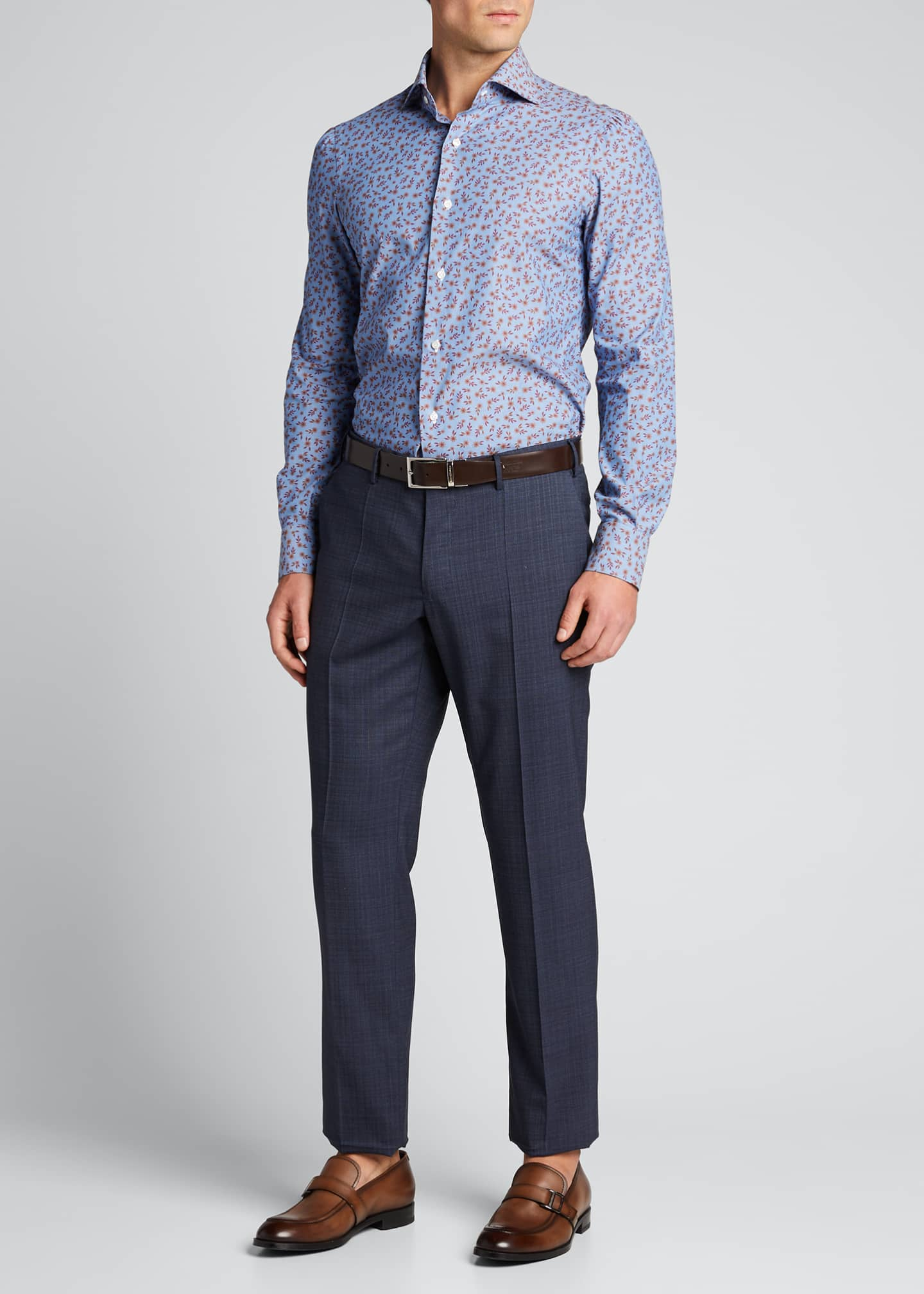 Isaia Men's Floral Chambray Sport Shirt
