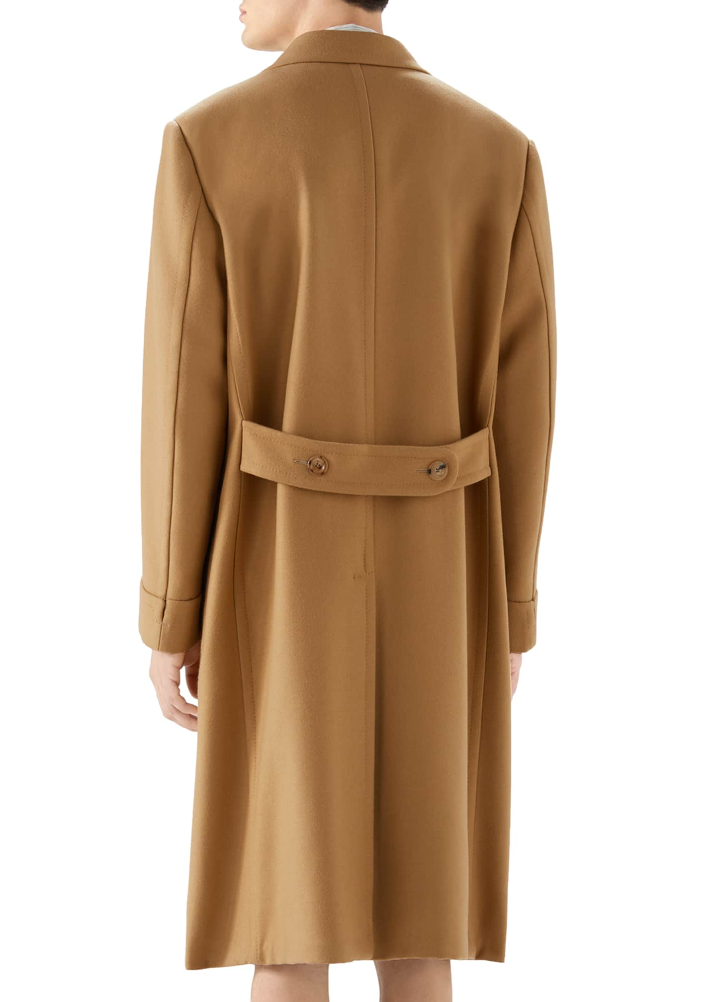 Image 2 of 2: Men's Double-Breasted Camel Coat