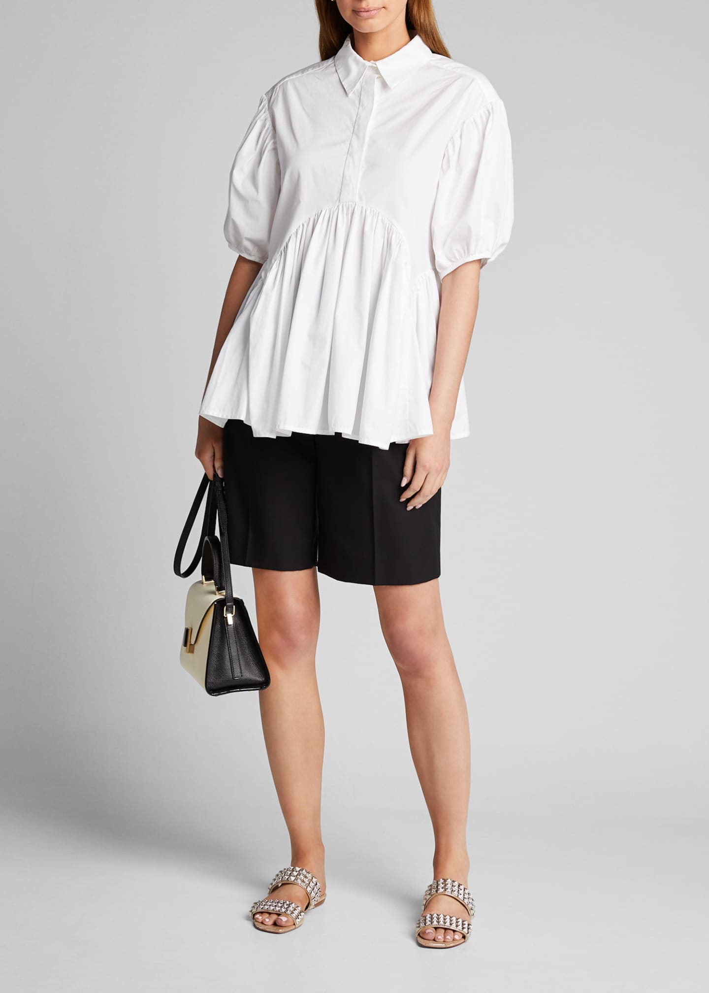 Cecilie Bahnsen Puff-Sleeve Cotton Top