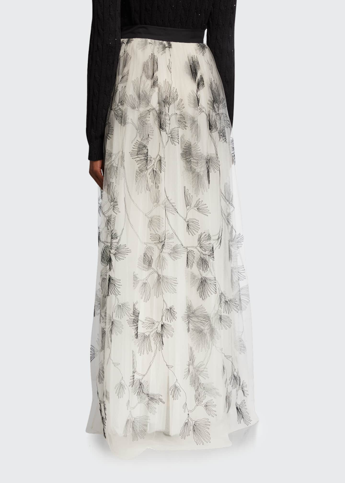Image 2 of 3: Tulle Embroidered Maxi Skirt