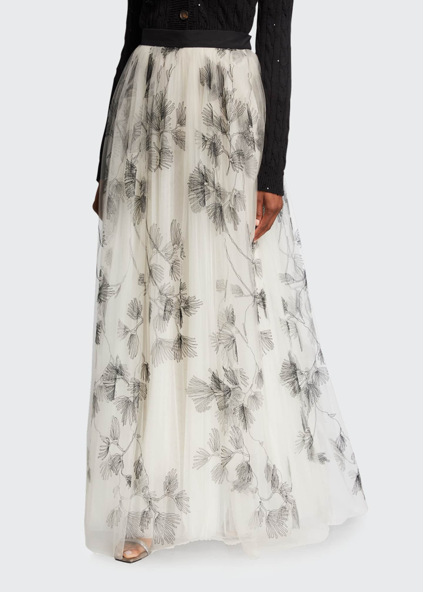 Image 3 of 3: Tulle Embroidered Maxi Skirt