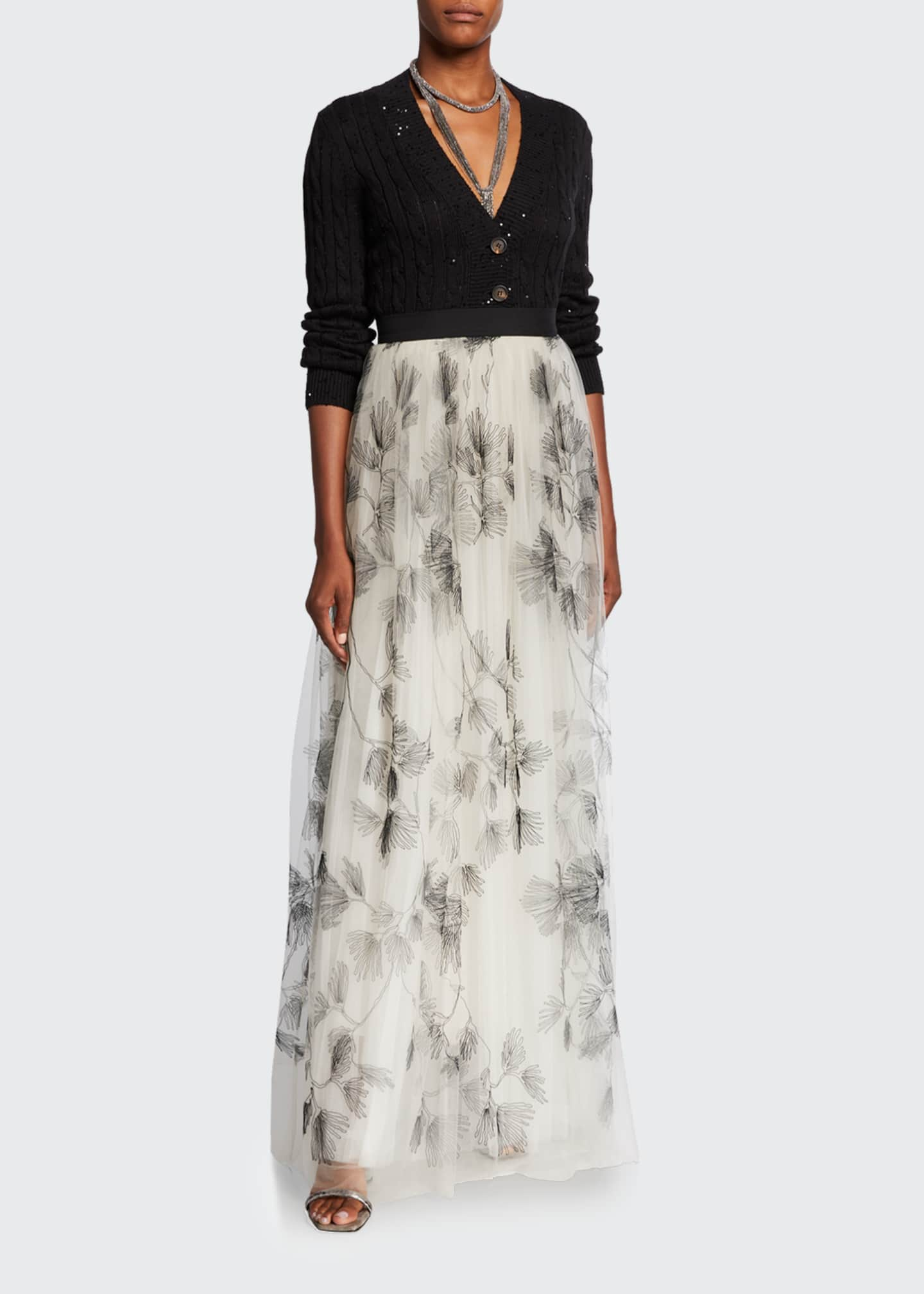 Image 1 of 3: Tulle Embroidered Maxi Skirt