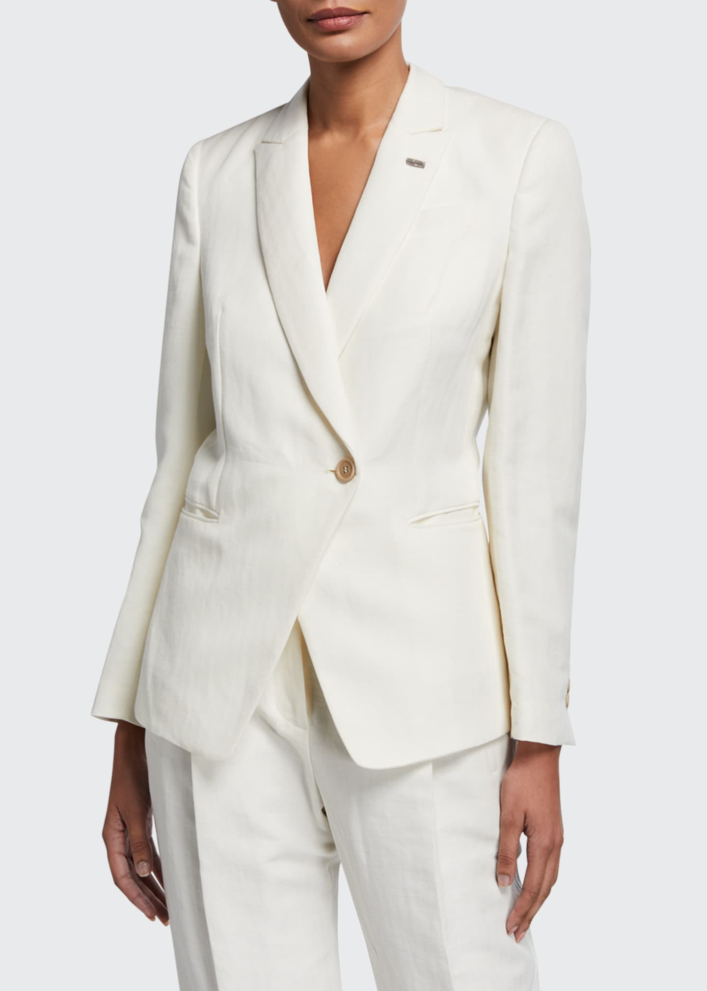 Image 1 of 2: Cotton-Linen Chevron Asymmetric Uniform Jacket