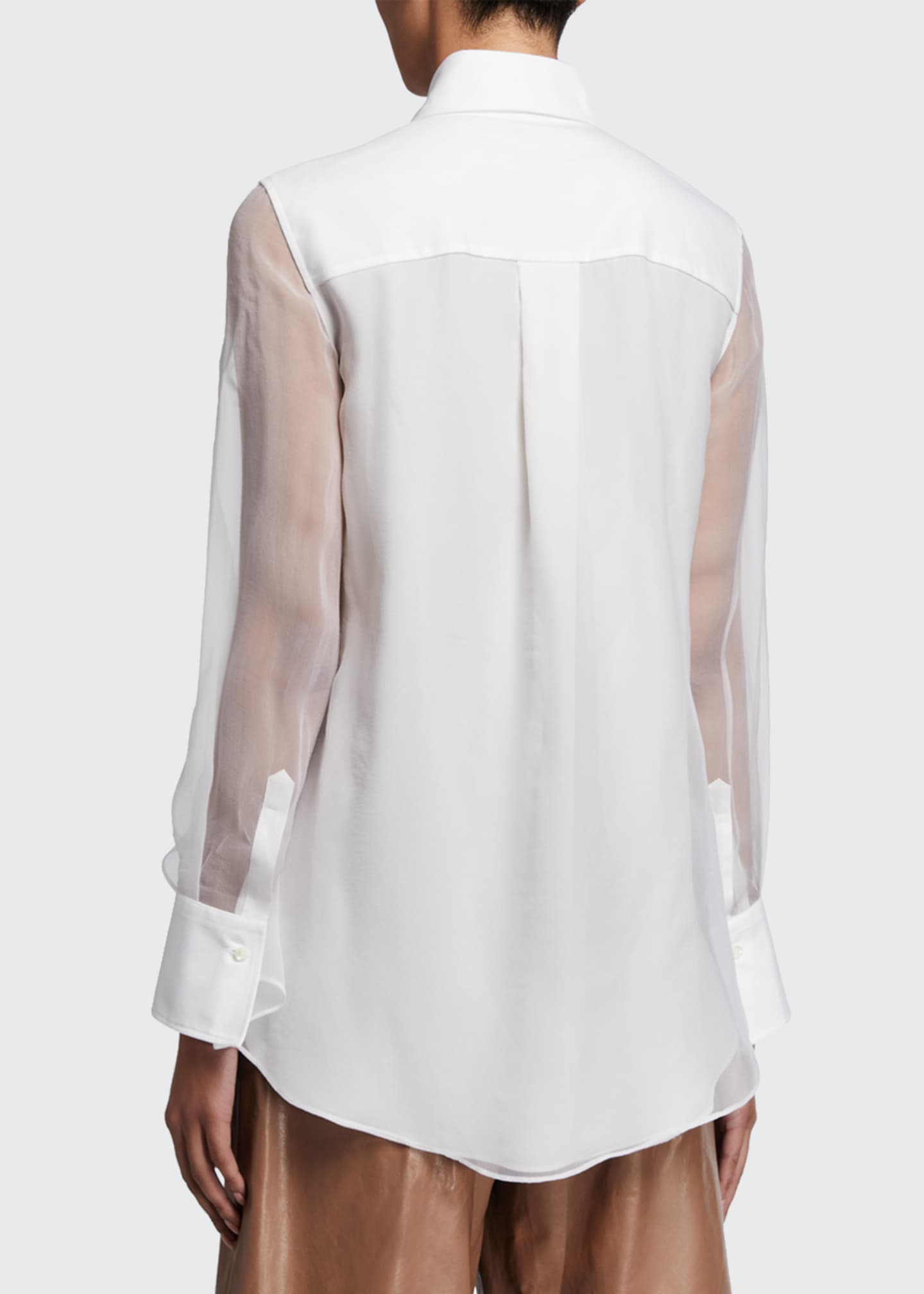 Image 2 of 2: Cotton Poplin & Organza Shirt
