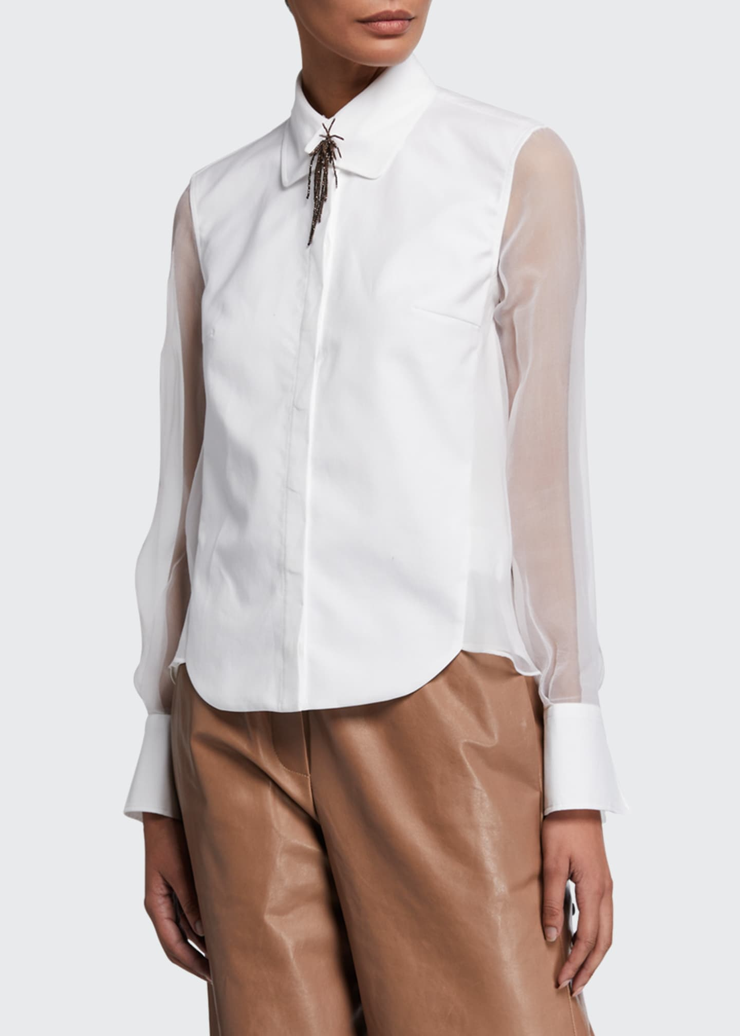 Image 1 of 2: Cotton Poplin & Organza Shirt