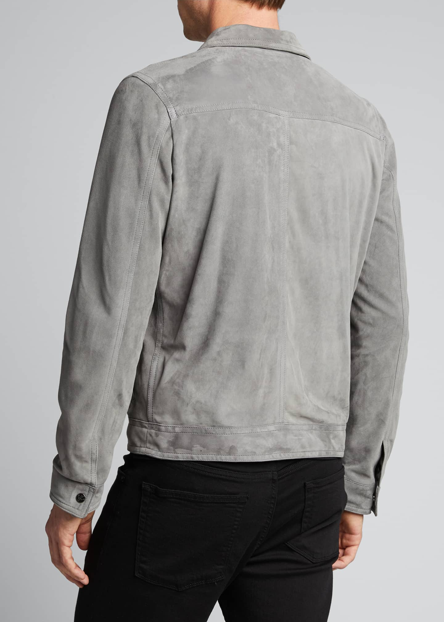 Image 2 of 5: Men's Lamb Suede Trucker Jacket