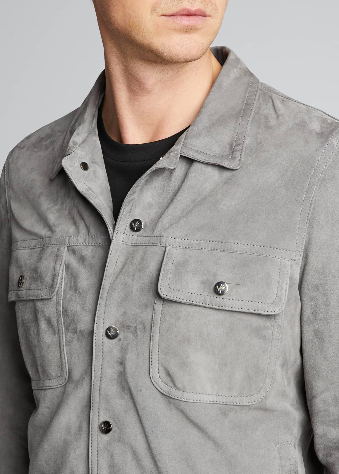 Image 4 of 5: Men's Lamb Suede Trucker Jacket