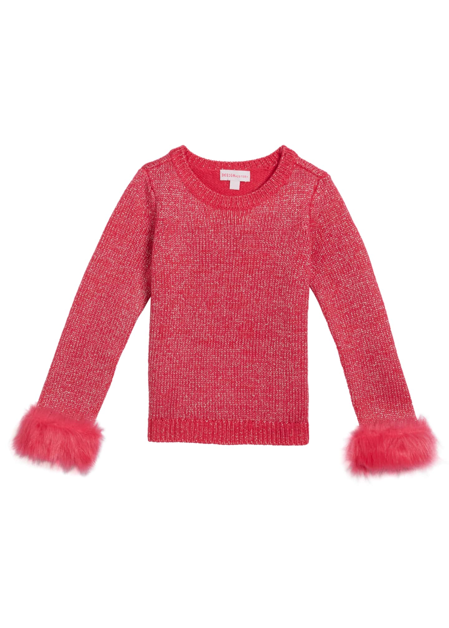 Design History Girls Girl's Metallic Knit Sweater w/