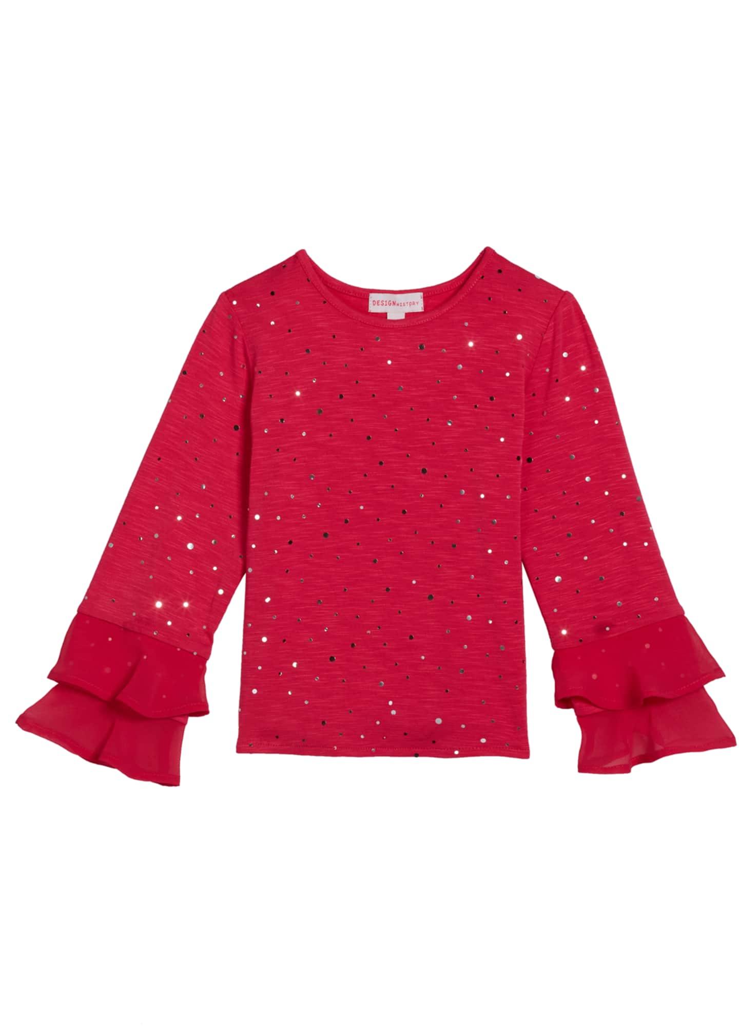 Design History Girls Girl's Long-Sleeve Sequin Top, Size