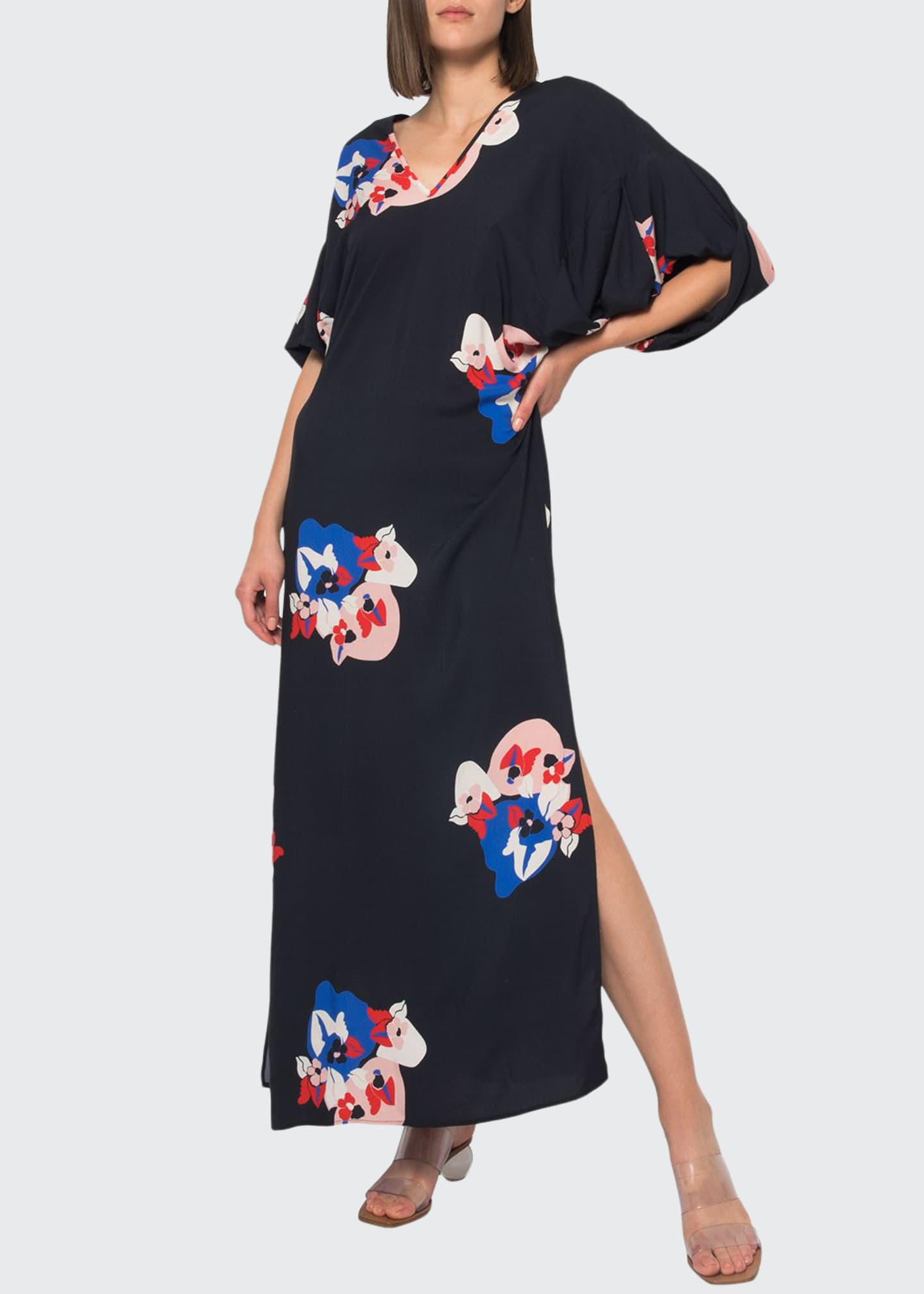 Jaline Beatriz Printed Kimono Sleeve Double V-Neck Long