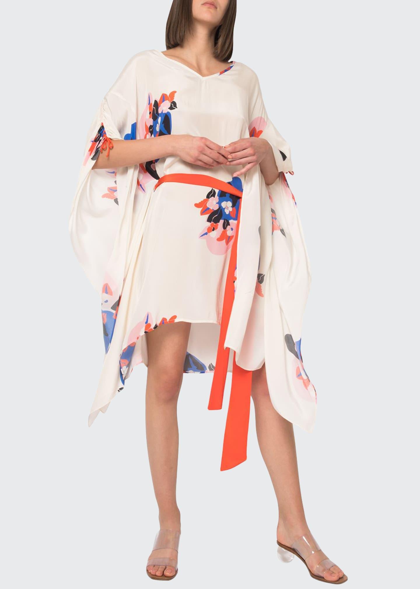 Jaline Paloma Floral Cinched-Sleeve Caftan w/ Belt