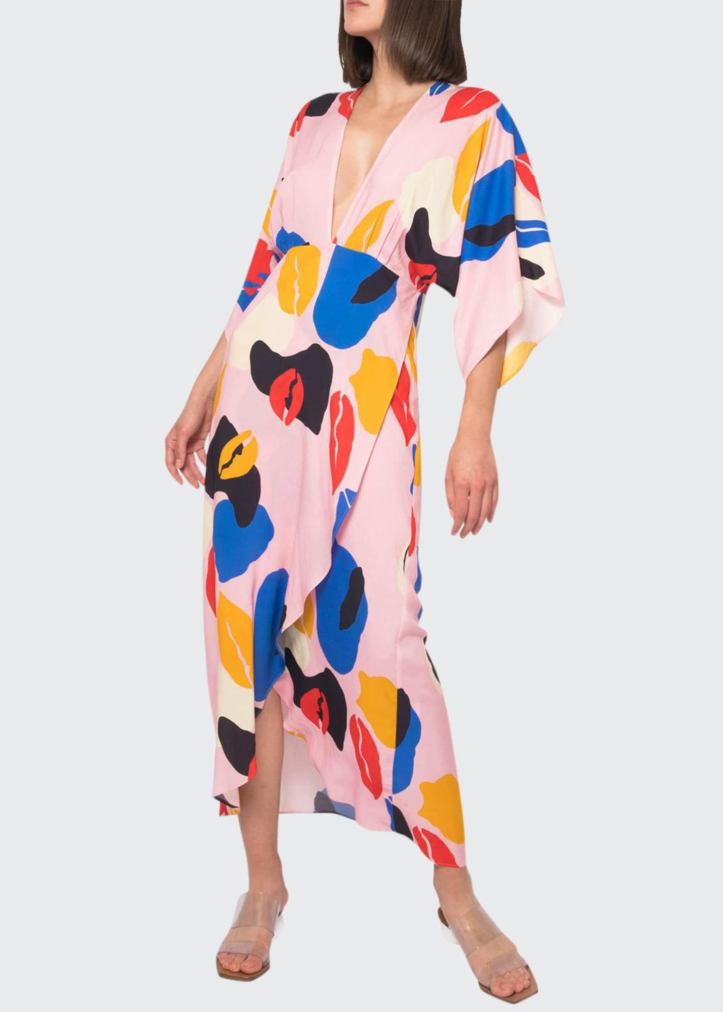 Jaline Katherine Abstract High-Low Maxi Dress