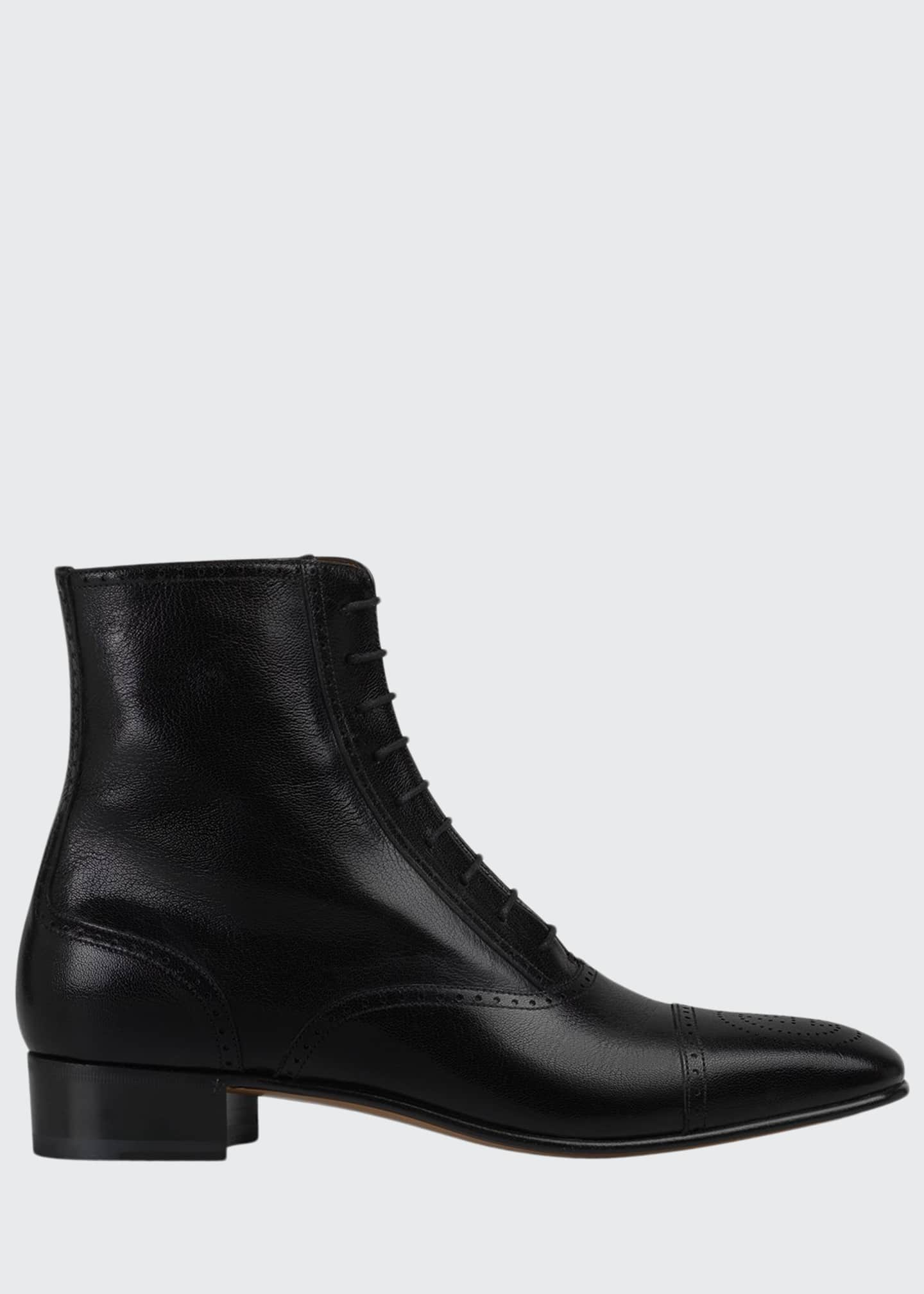 Gucci Men's Dracma Brogue Leather Ankle Boots