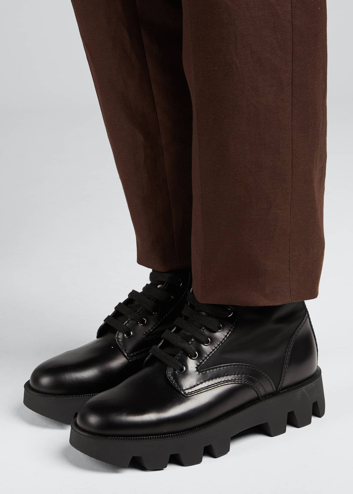 Image 2 of 5: Men's Nylon-Inset Leather Boots
