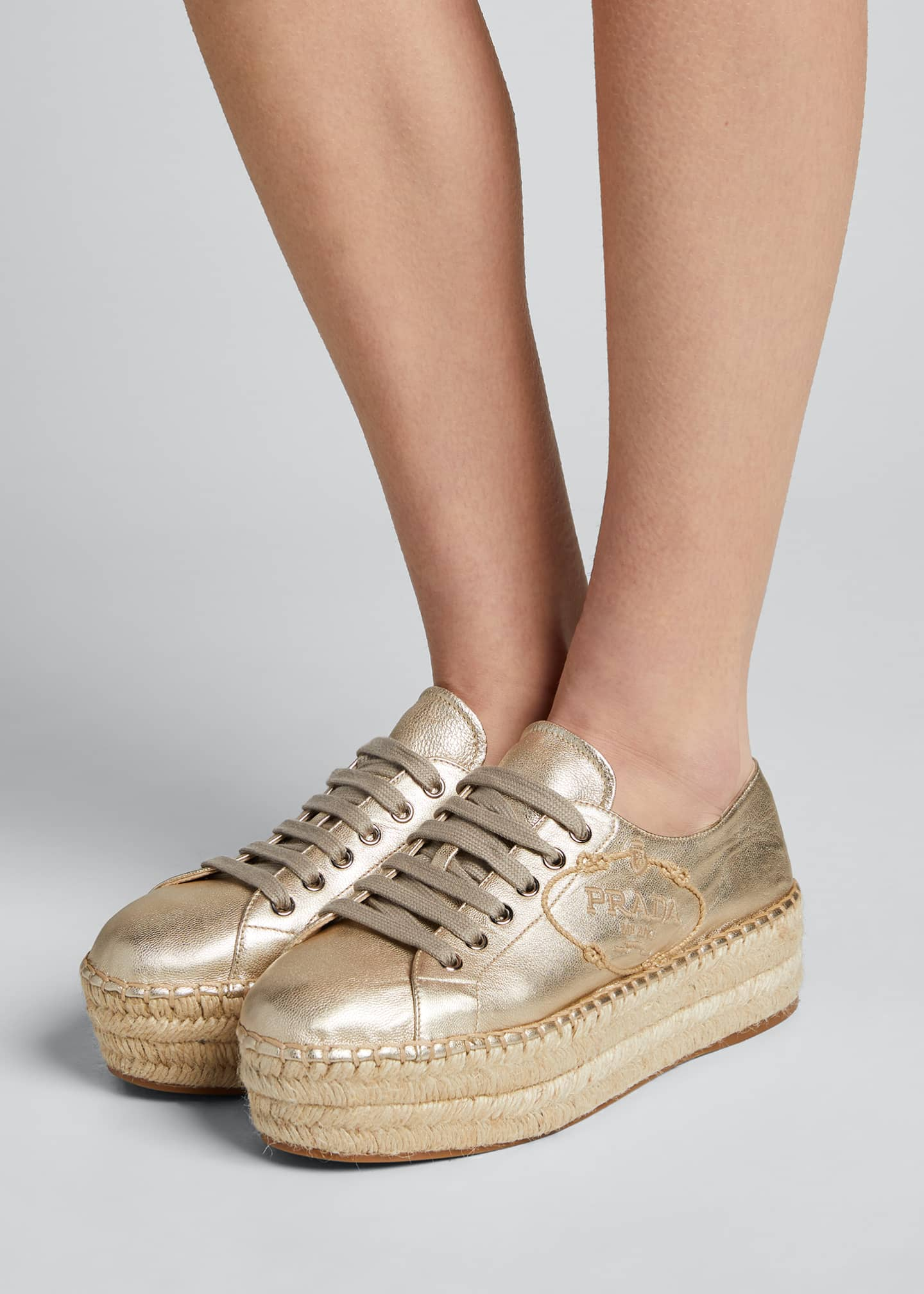 Image 2 of 5: Leather Logo Platform Espadrille