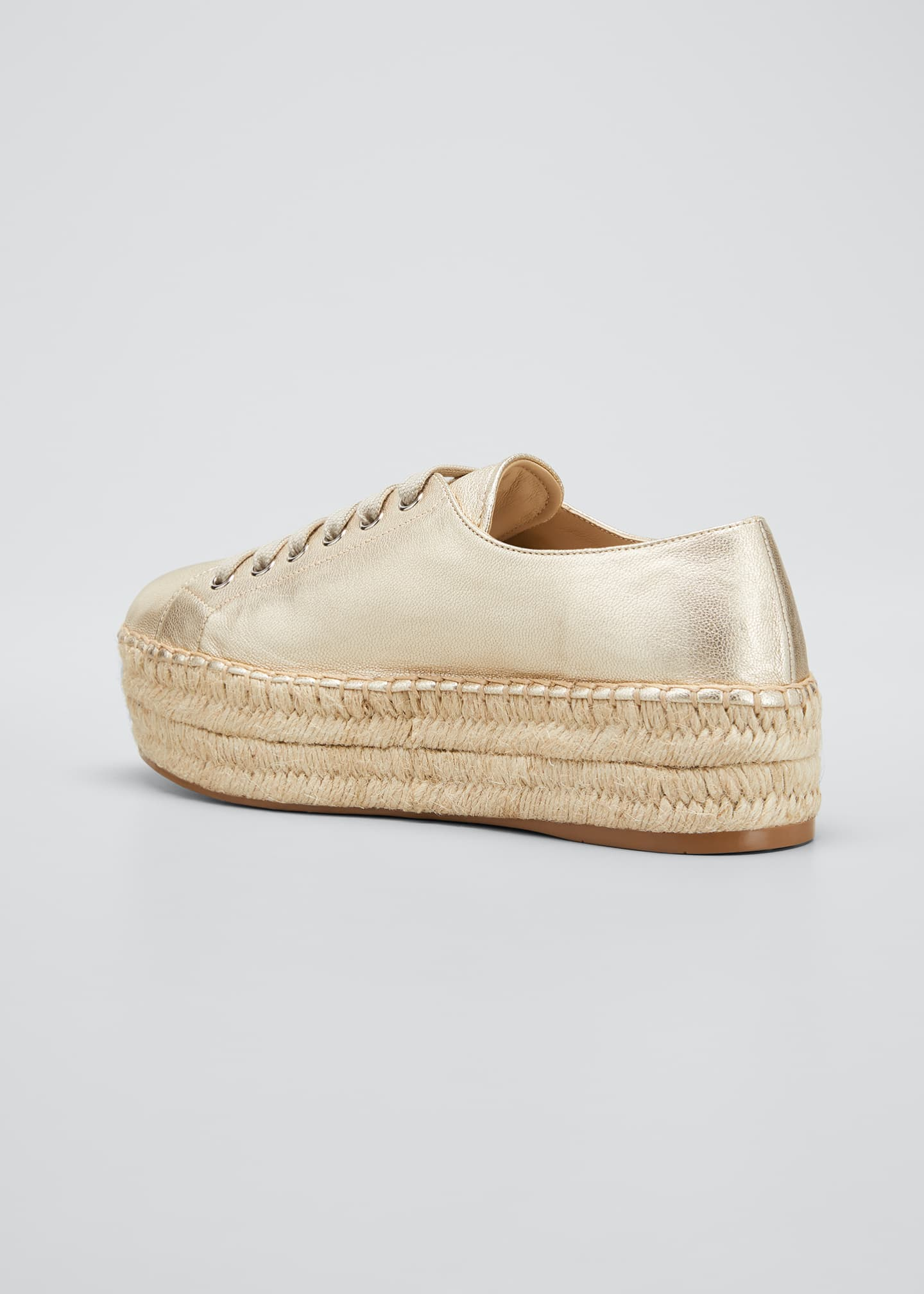 Image 4 of 5: Leather Logo Platform Espadrille