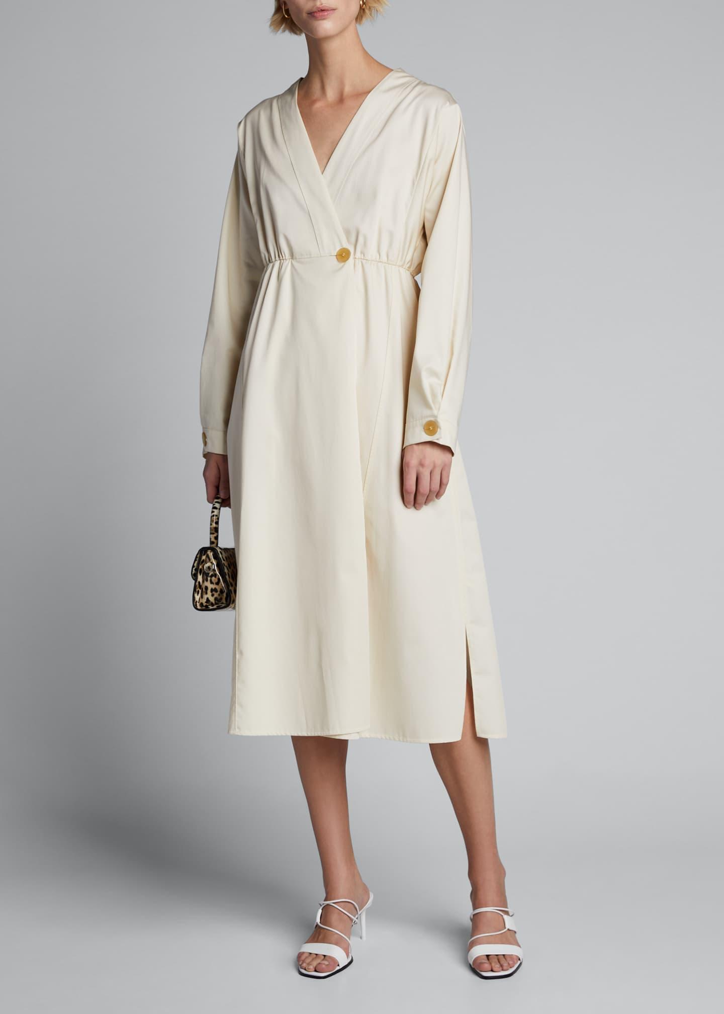 Forte Forte Mako Long-Sleeve Cotton Twill Midi Dress