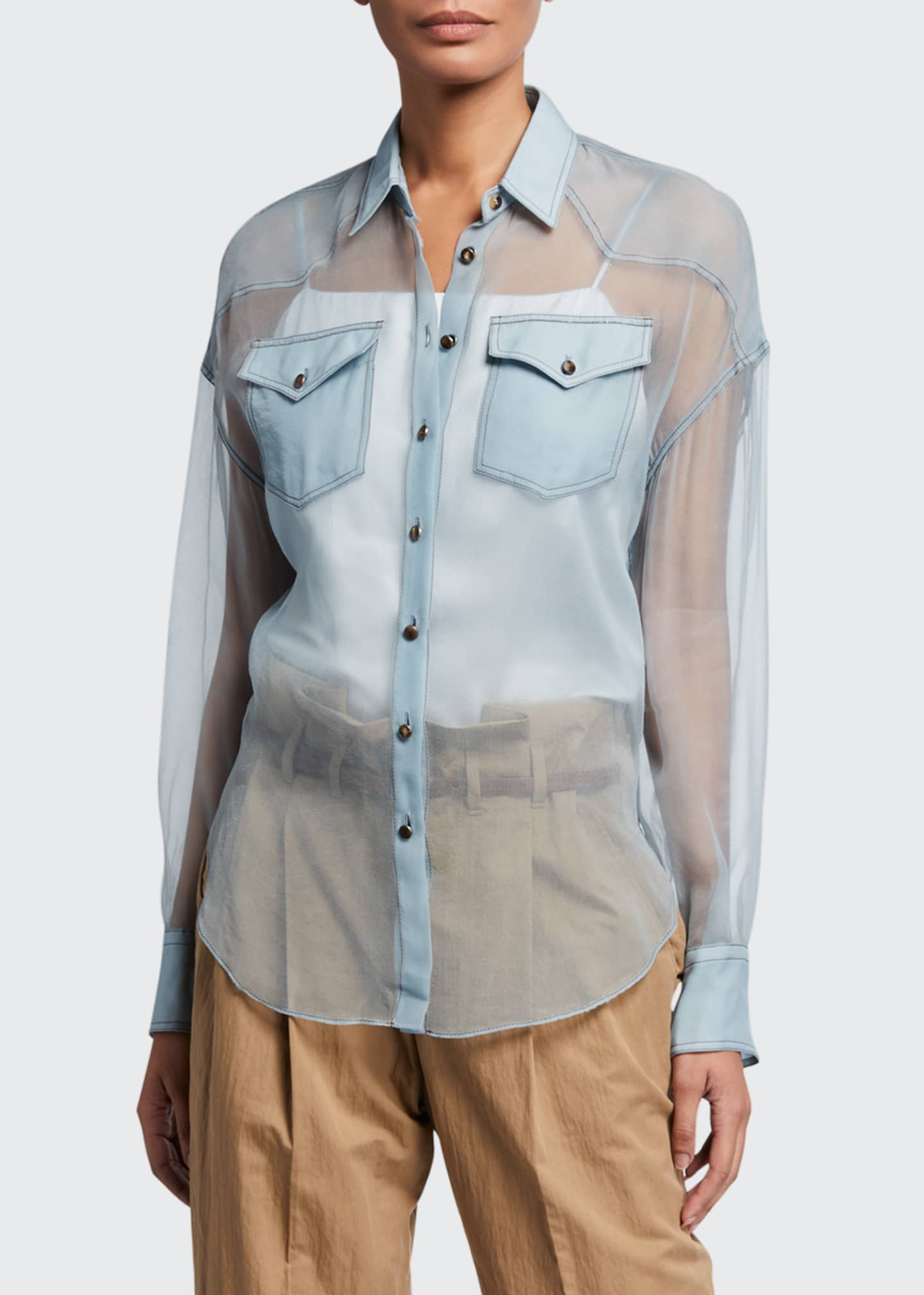 Image 1 of 3: Crispy Silk Western Blouse
