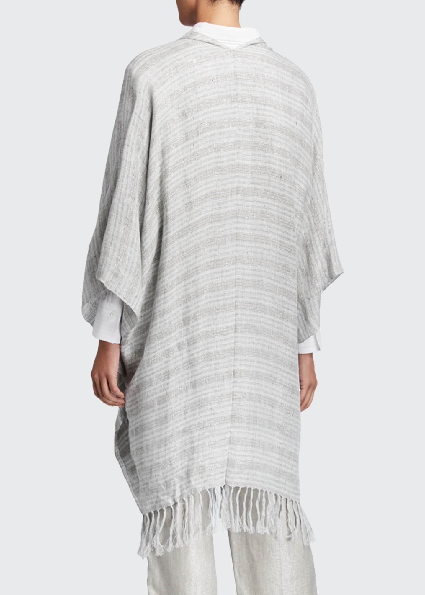 Image 2 of 2: Fringed Metallic-Striped Linen Poncho