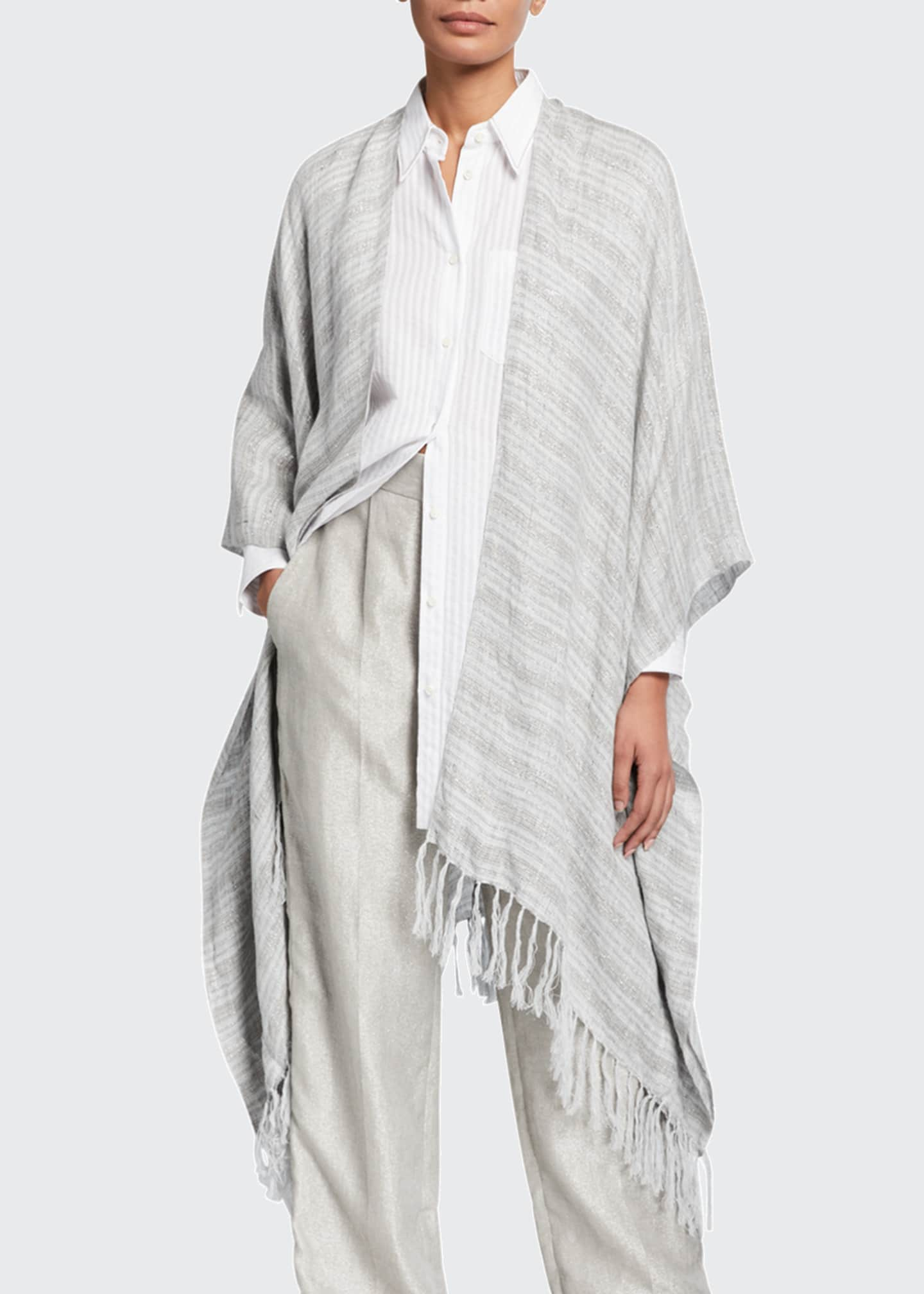 Image 1 of 2: Fringed Metallic-Striped Linen Poncho