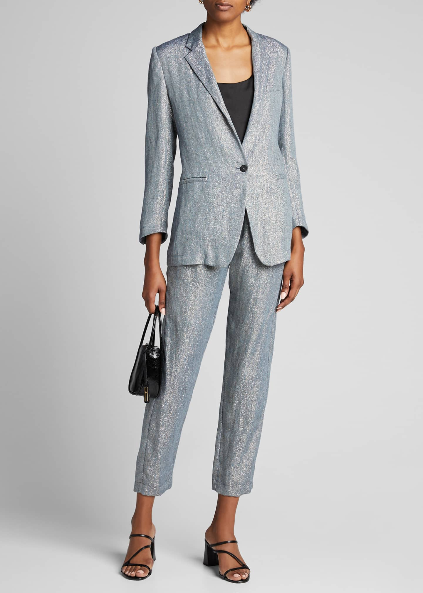 Forte Forte Metallic Linen Single-Button Jacket