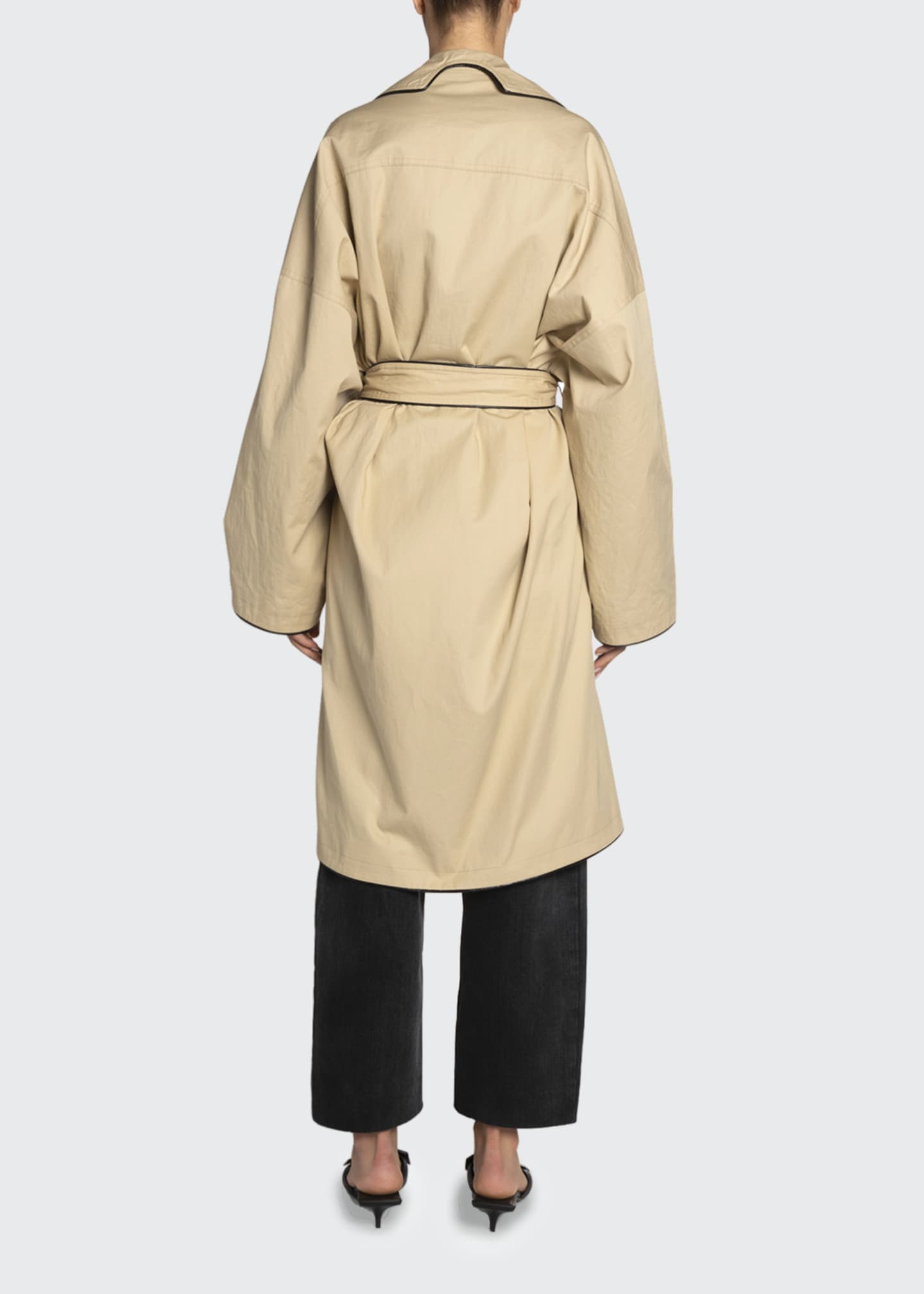 Image 2 of 2: Cotton Short Cocoon Coat