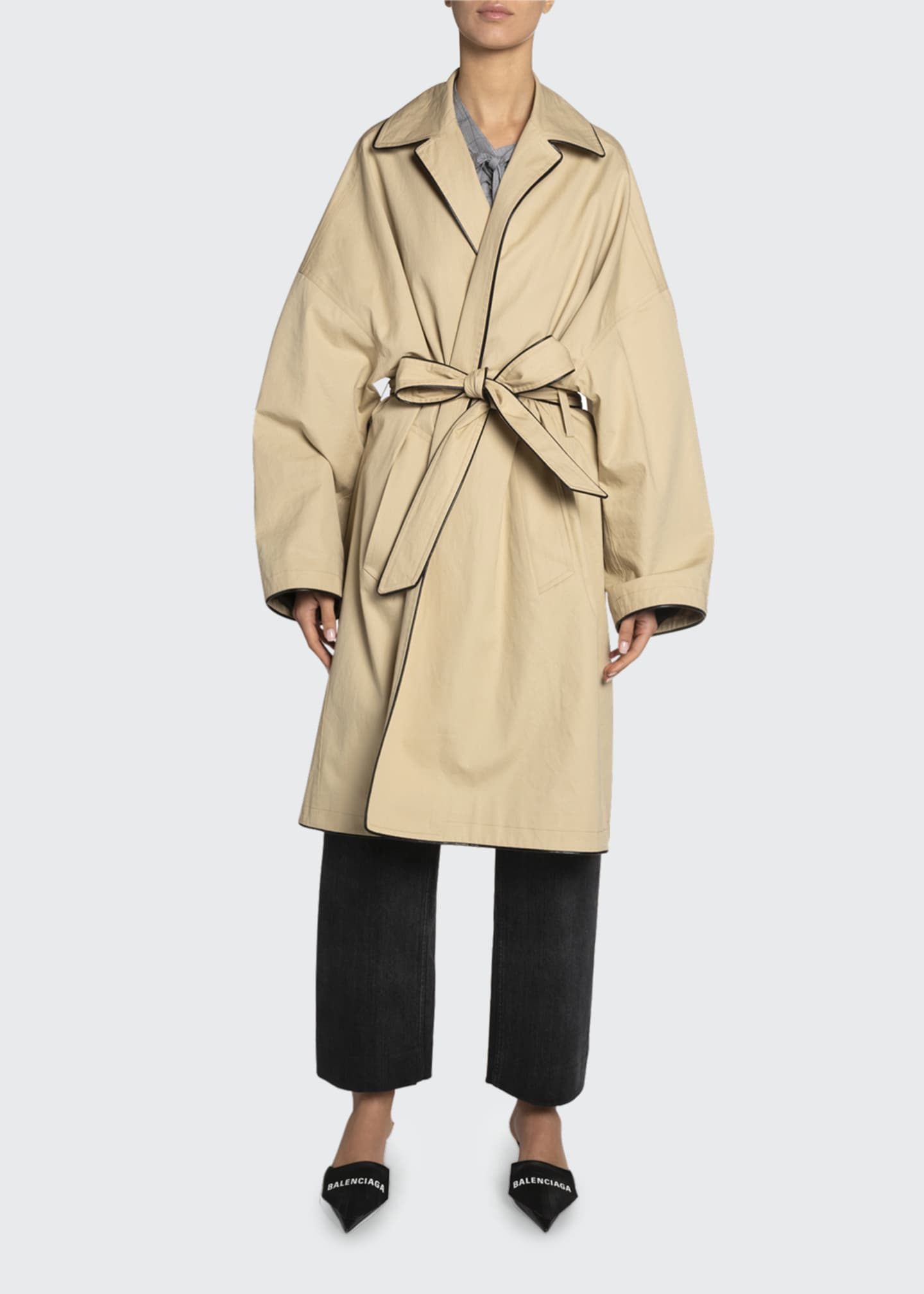 Image 1 of 2: Cotton Short Cocoon Coat