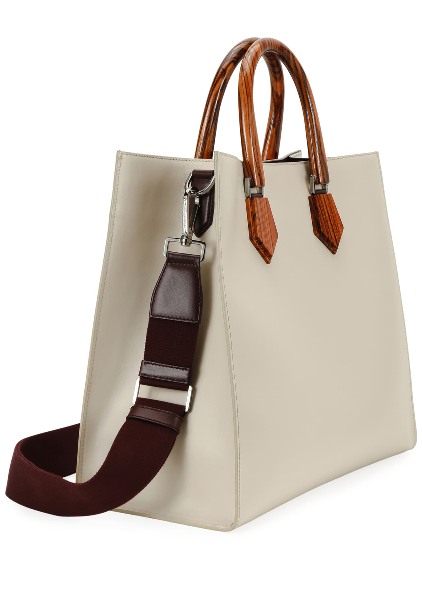 Image 2 of 3: Men's Summer Luxury Wooden-Handle Leather Tote Bag