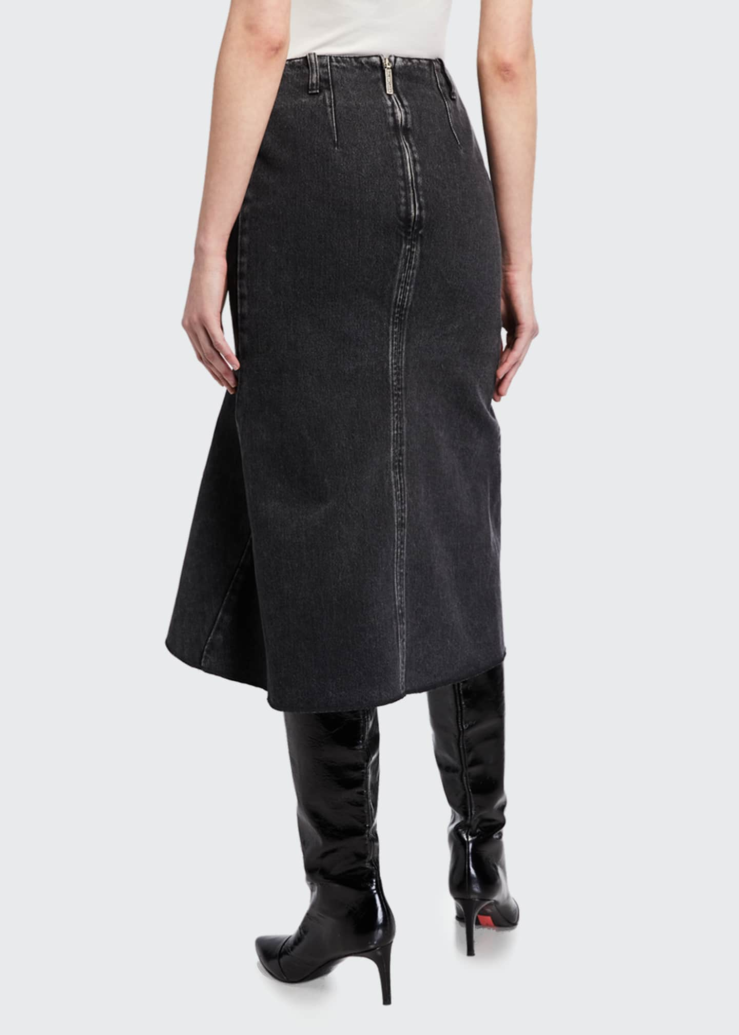 Image 2 of 3: Japanese Denim Godet Midi Skirt