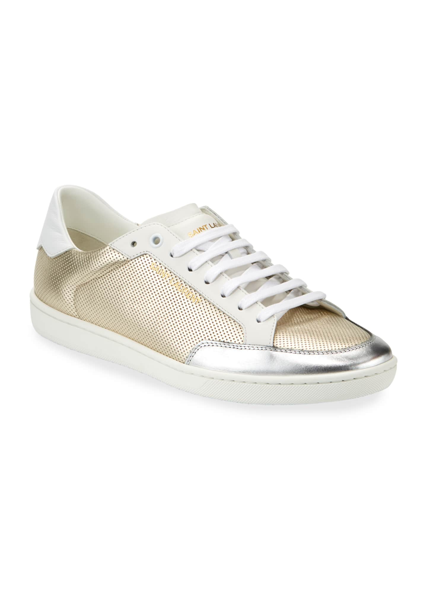 Image 2 of 4: Men's Perforated Metallic Leather Low-Top Sneakers