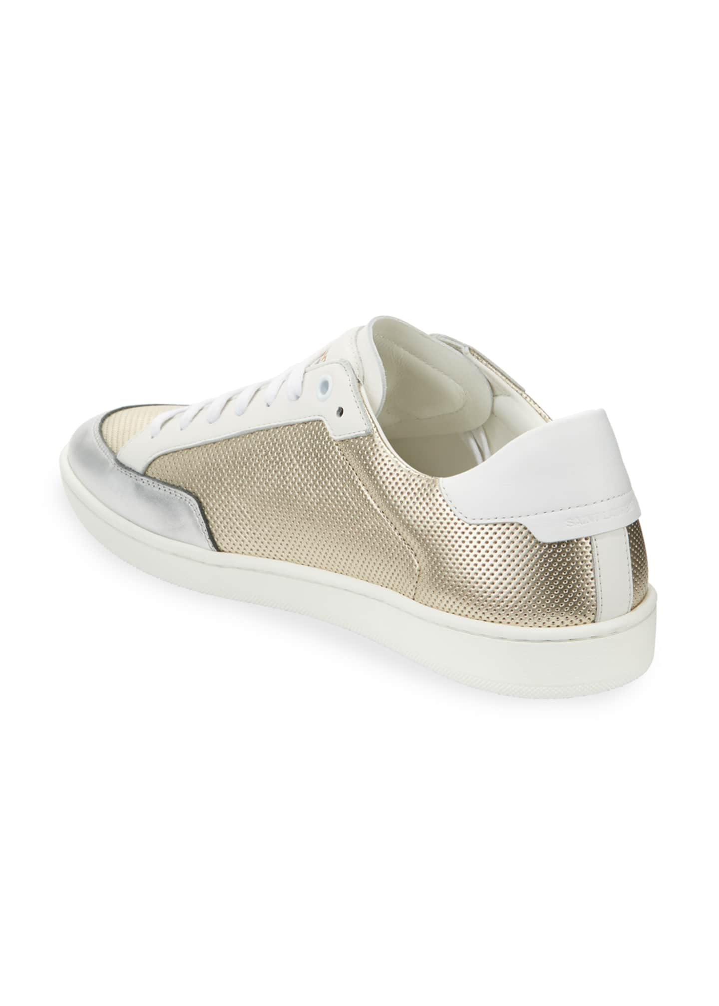 Image 4 of 4: Men's Perforated Metallic Leather Low-Top Sneakers