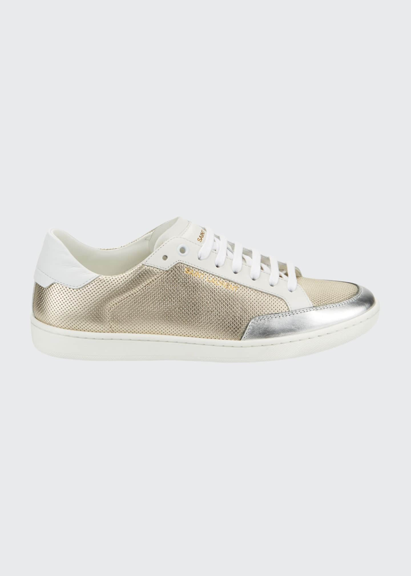Image 1 of 4: Men's Perforated Metallic Leather Low-Top Sneakers