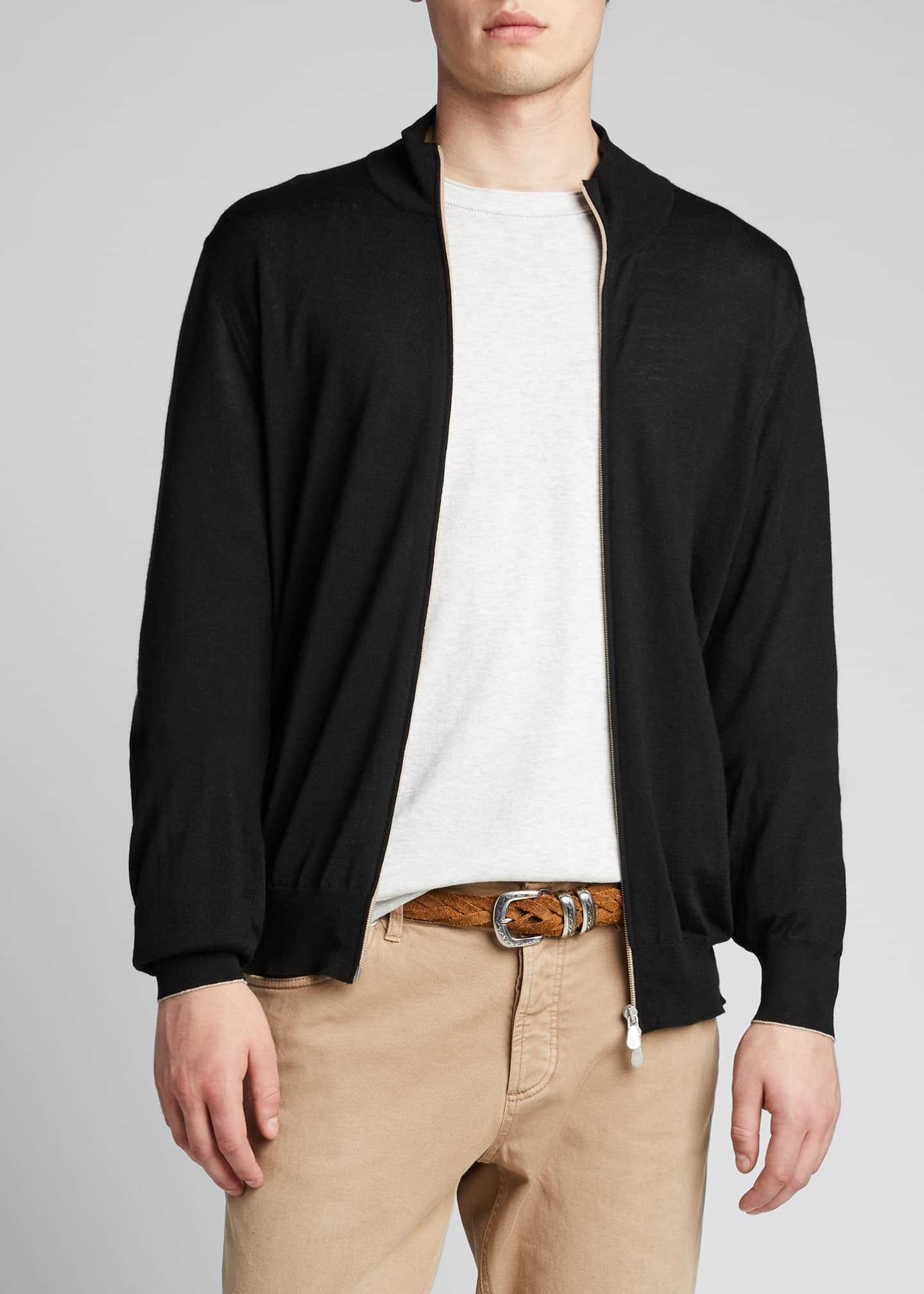 Image 3 of 5: Men's Zip-Front Cashmere-Blend Cardigan