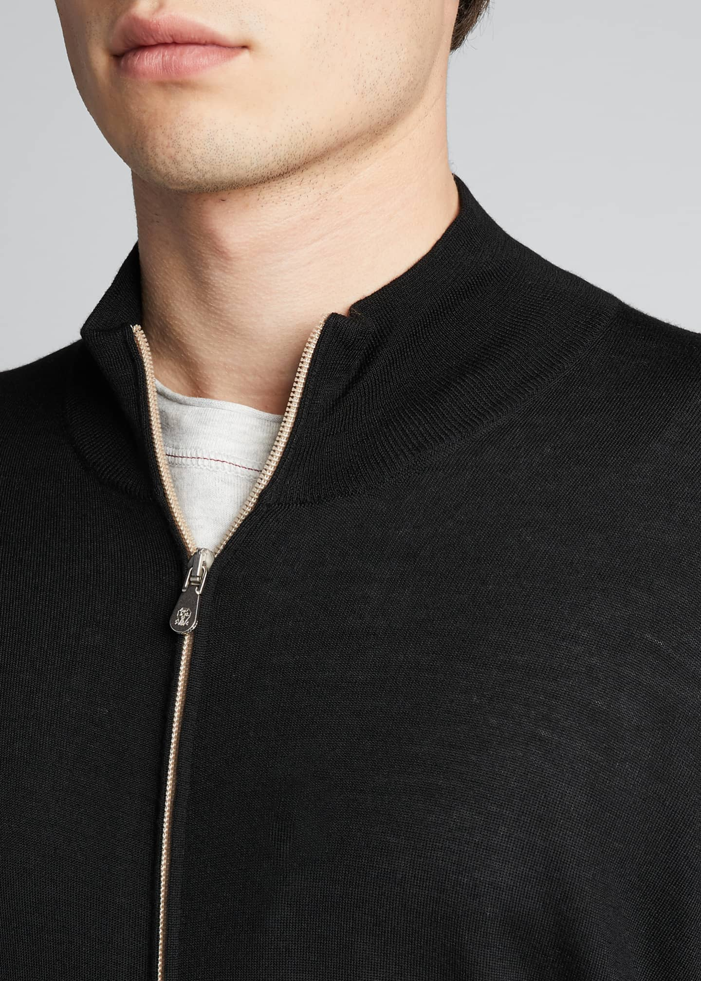 Image 4 of 5: Men's Zip-Front Cashmere-Blend Cardigan