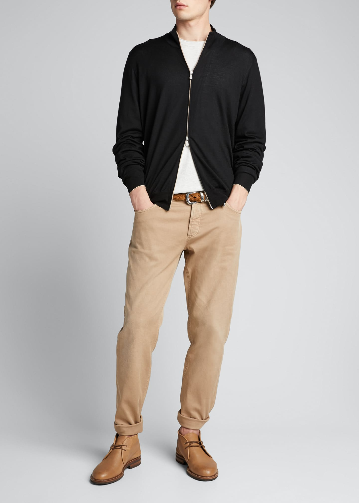 Image 1 of 5: Men's Zip-Front Cashmere-Blend Cardigan