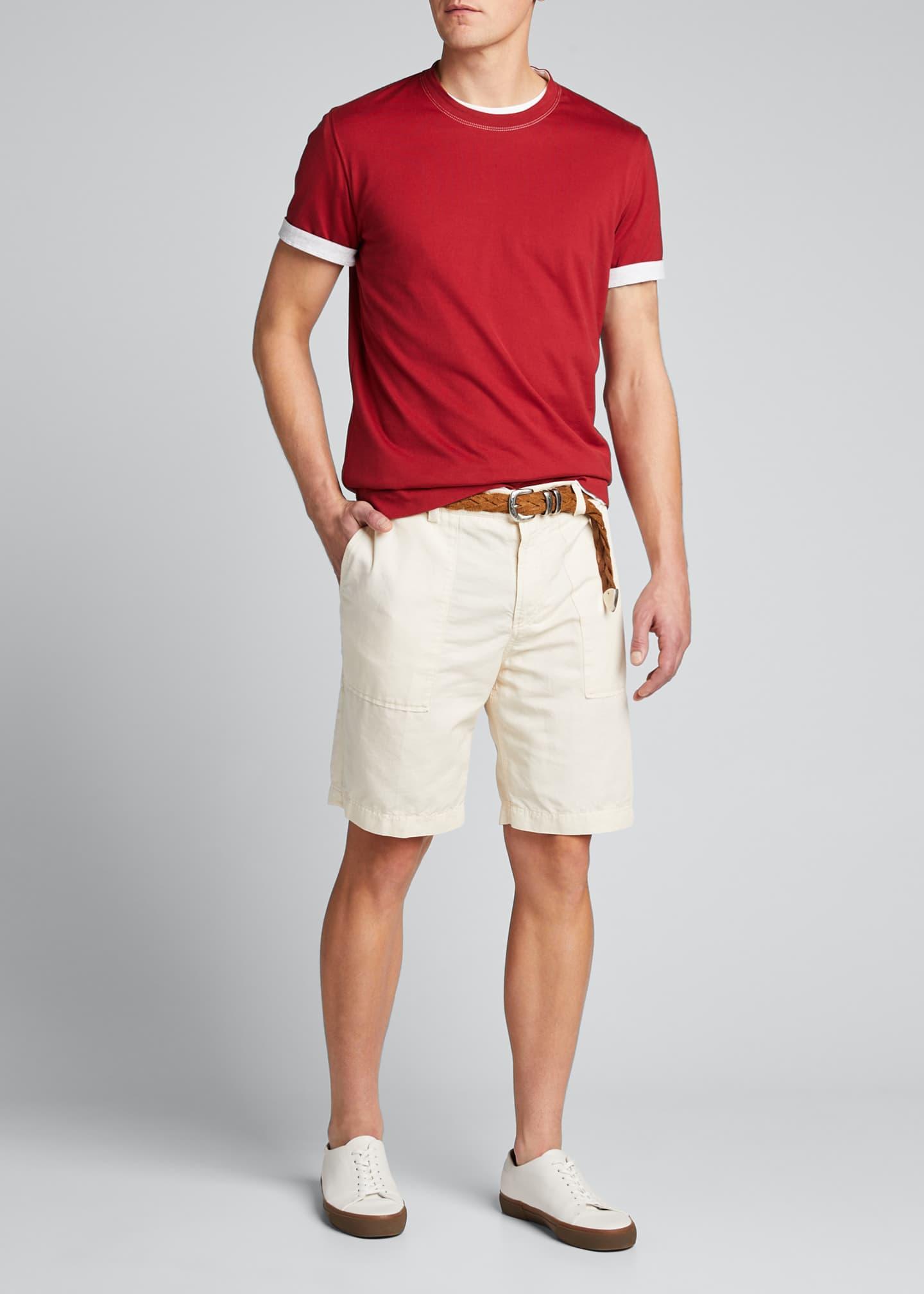Brunello Cucinelli Men's Solid Jersey T-Shirt w/ Contrast