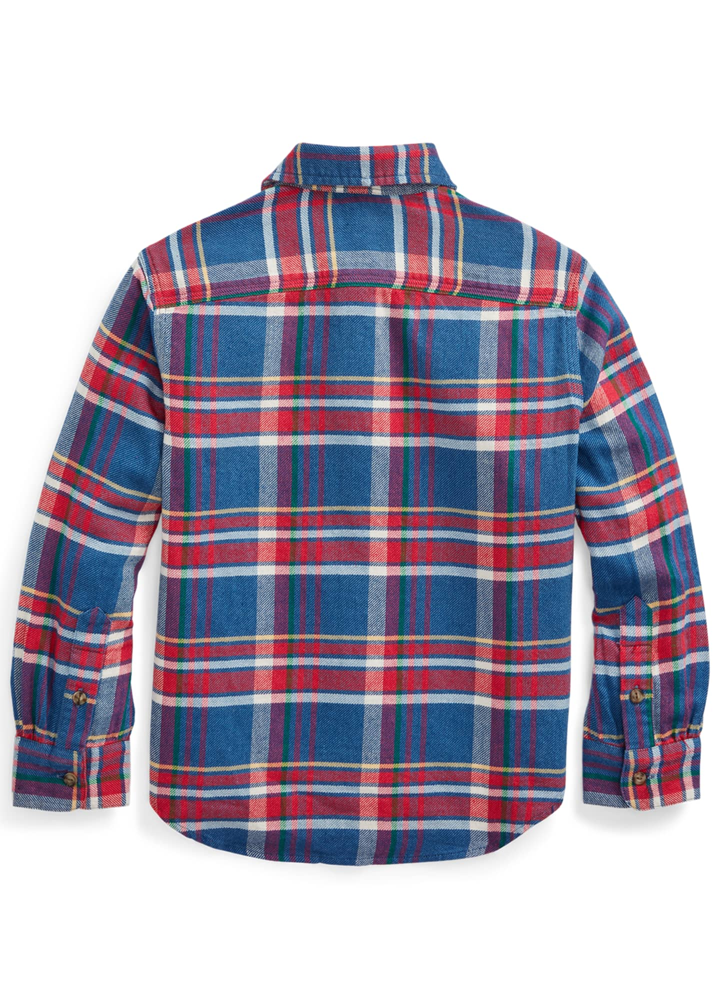 Image 2 of 2: Boy's Plaid Button-Down Shirt, Size 5-7