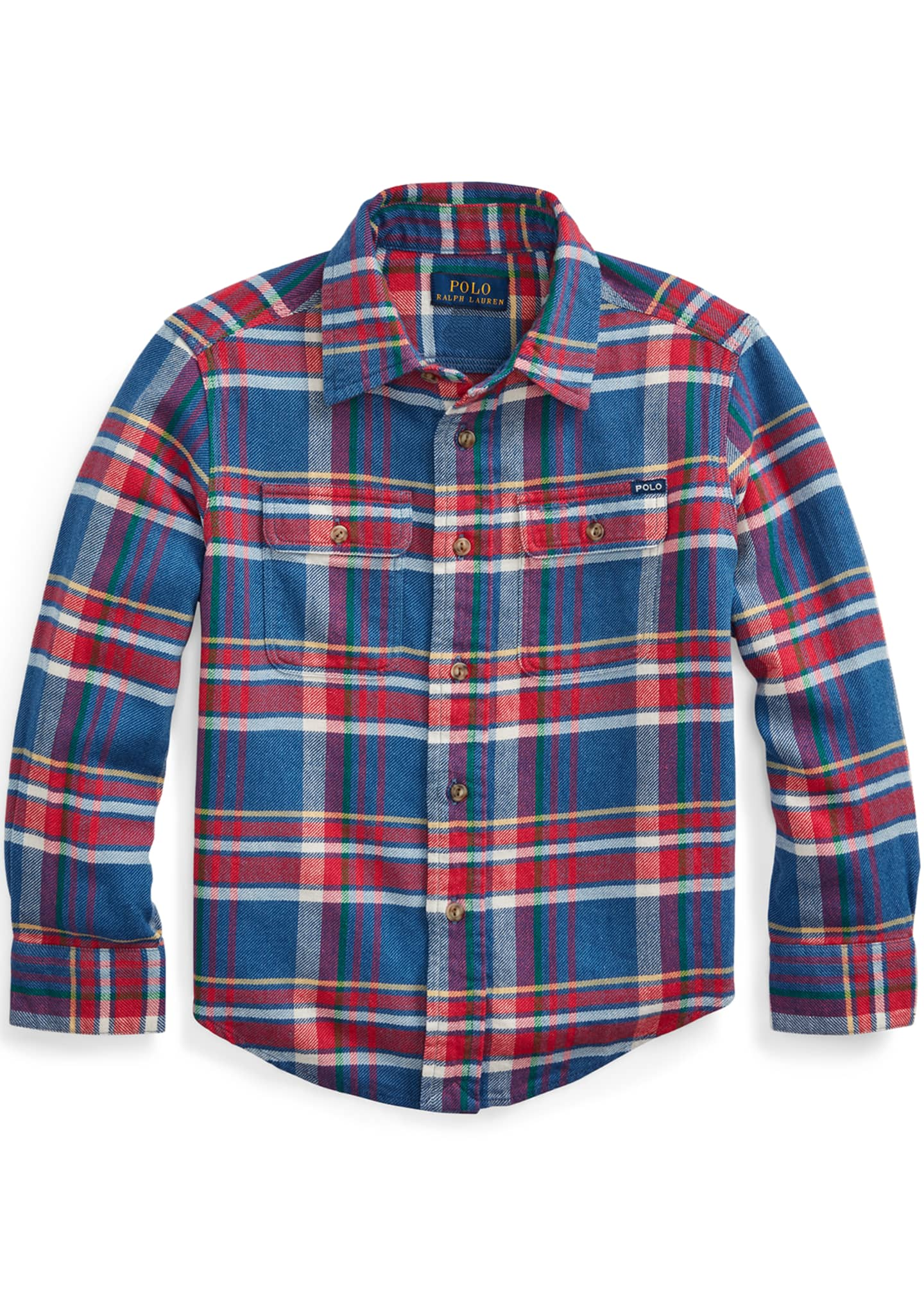 Image 1 of 2: Boy's Plaid Button-Down Shirt, Size 5-7