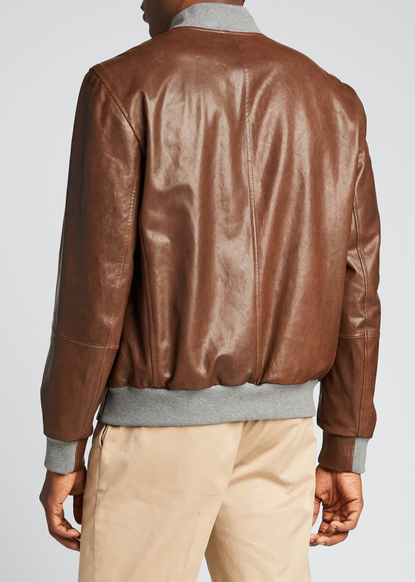 Image 2 of 5: Men's Knit-Trim Leather Jacket