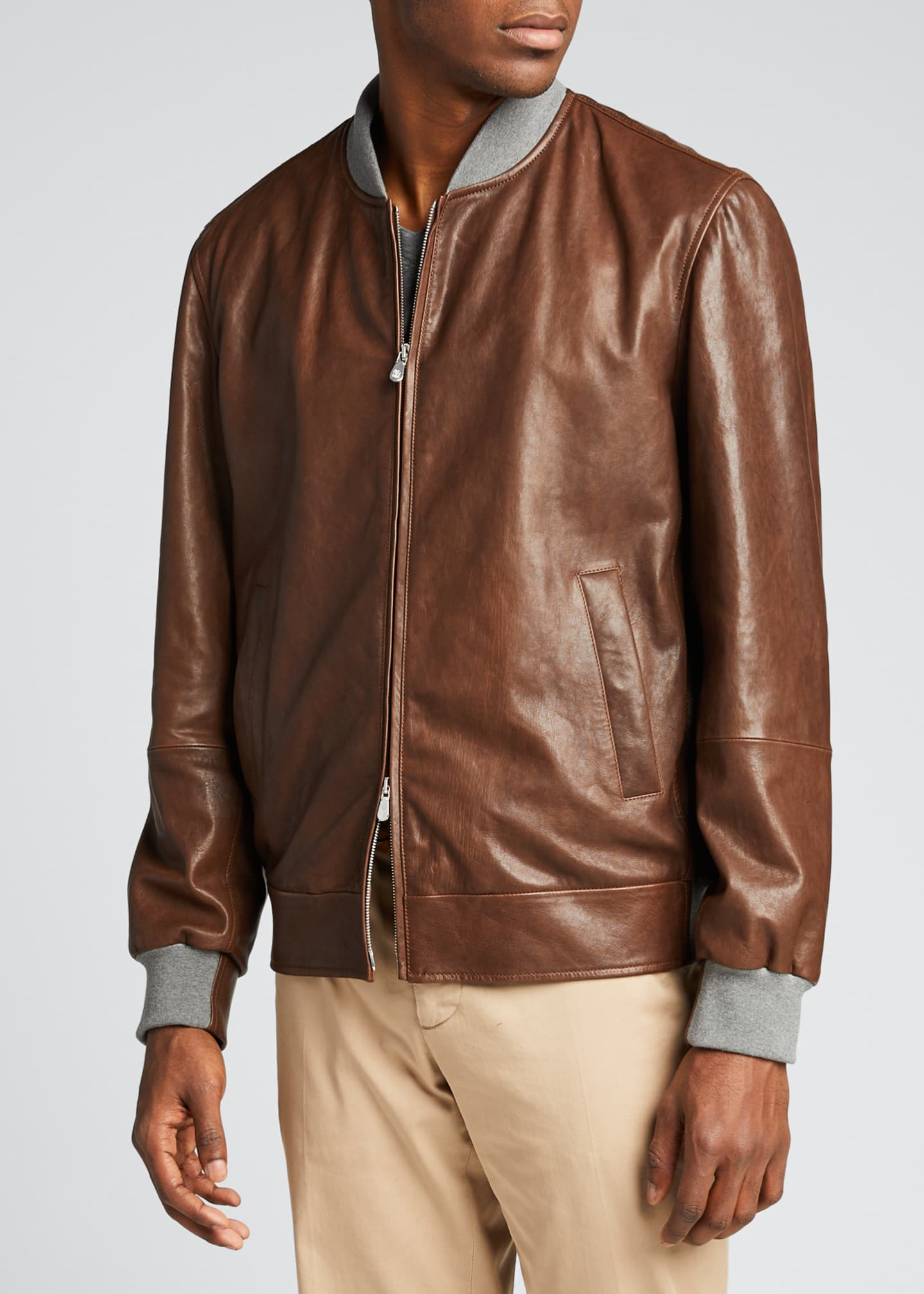 Image 3 of 5: Men's Knit-Trim Leather Jacket